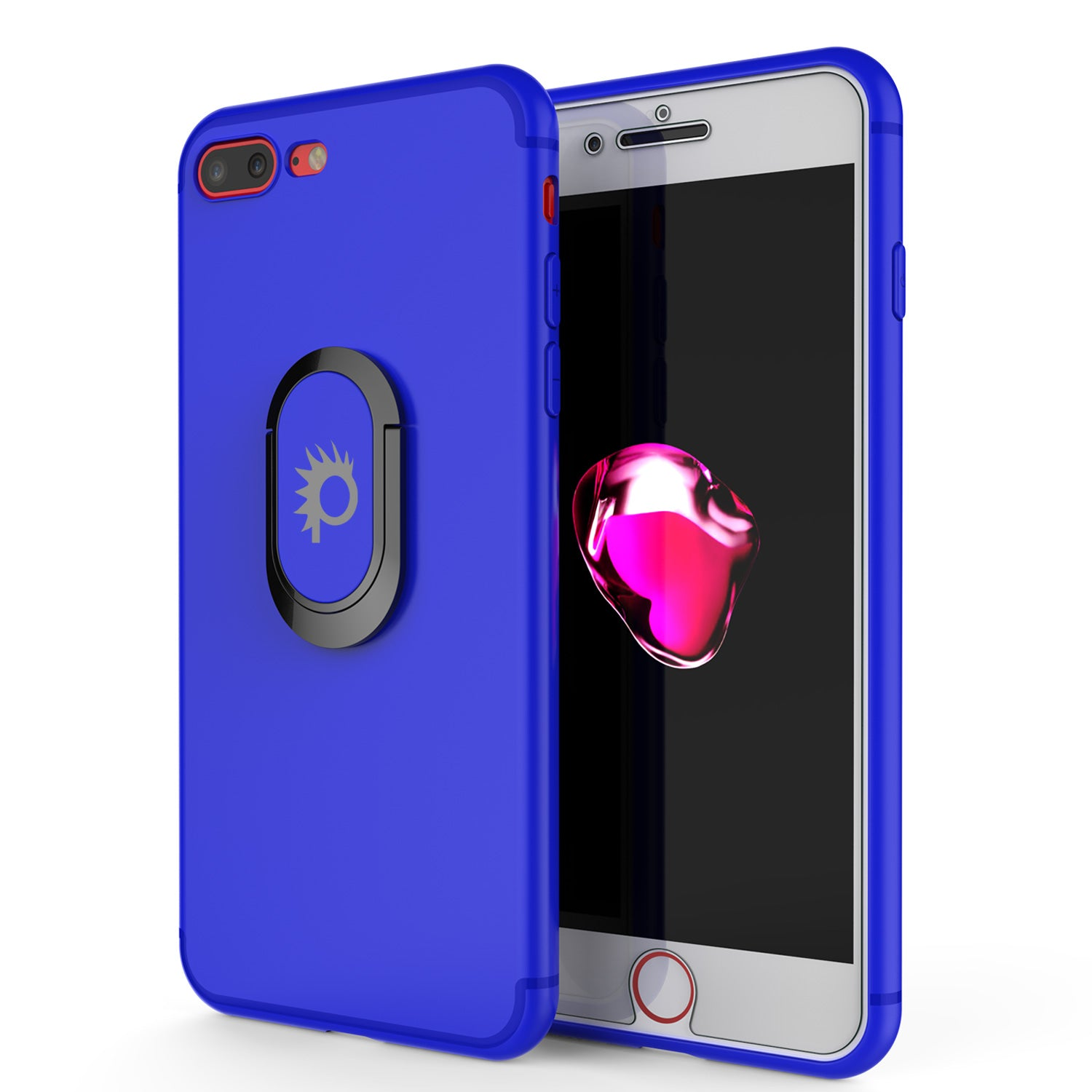 iPhone 8 PLUS Case, Punkcase Magnetix Protective TPU Cover W/ Kickstand, Tempered Glass Screen Protector [Blue]