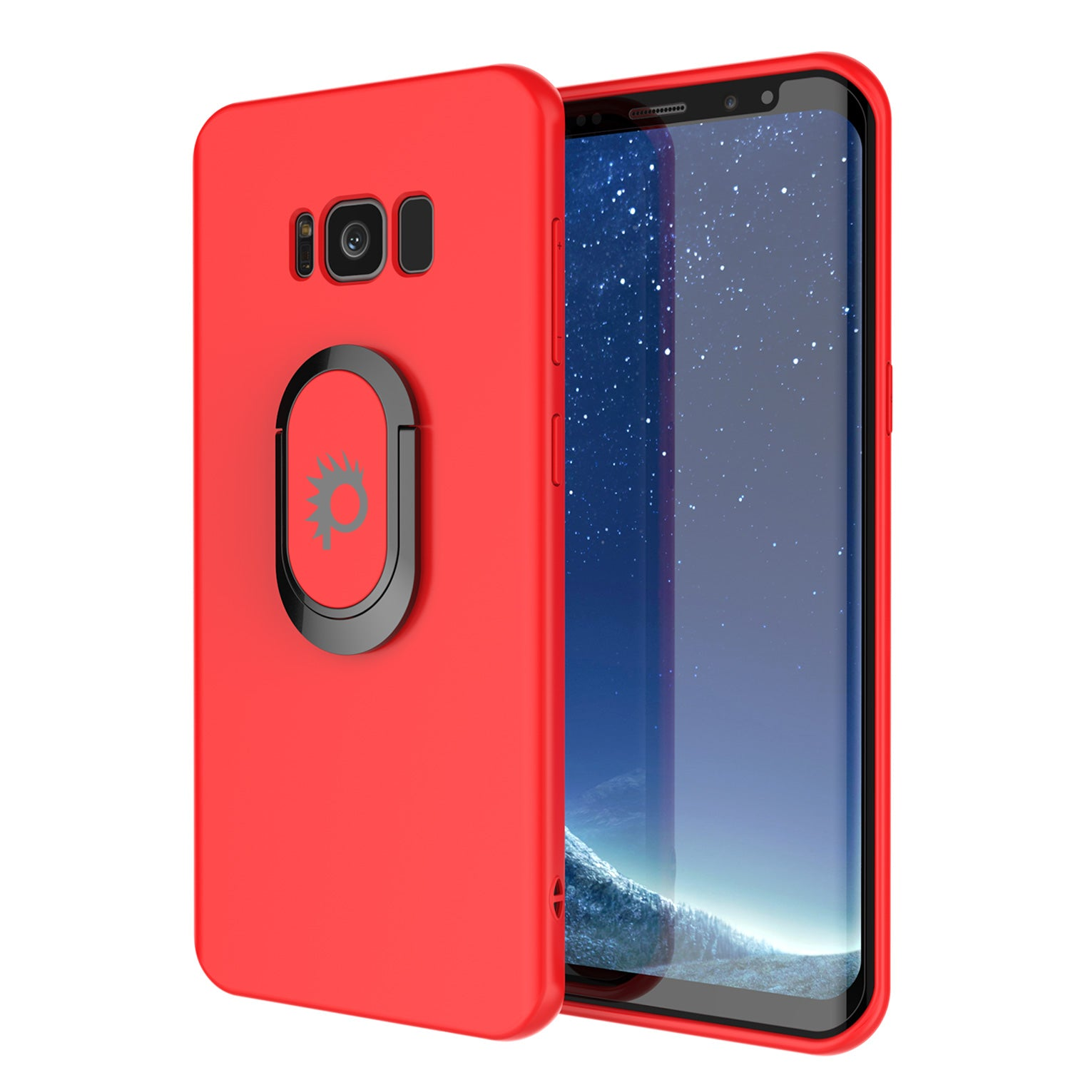 Galaxy S8 Case, Punkcase Magnetix Protective TPU Cover W/ Kickstand, Screen Protector [Red]