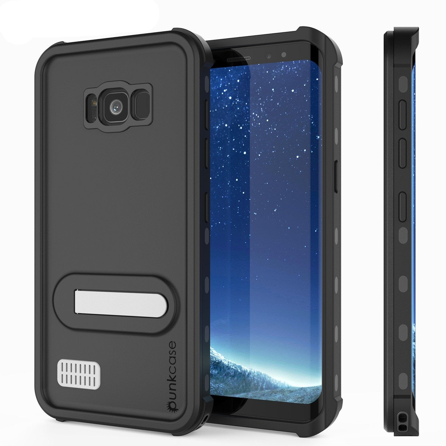 Galaxy S8 Waterproof Case, Punkcase [KickStud Series] [Slim Fit] [IP68 Certified] [Shockproof] [Snowproof] Armor Cover W/ Built-In Kickstand [BLACK]