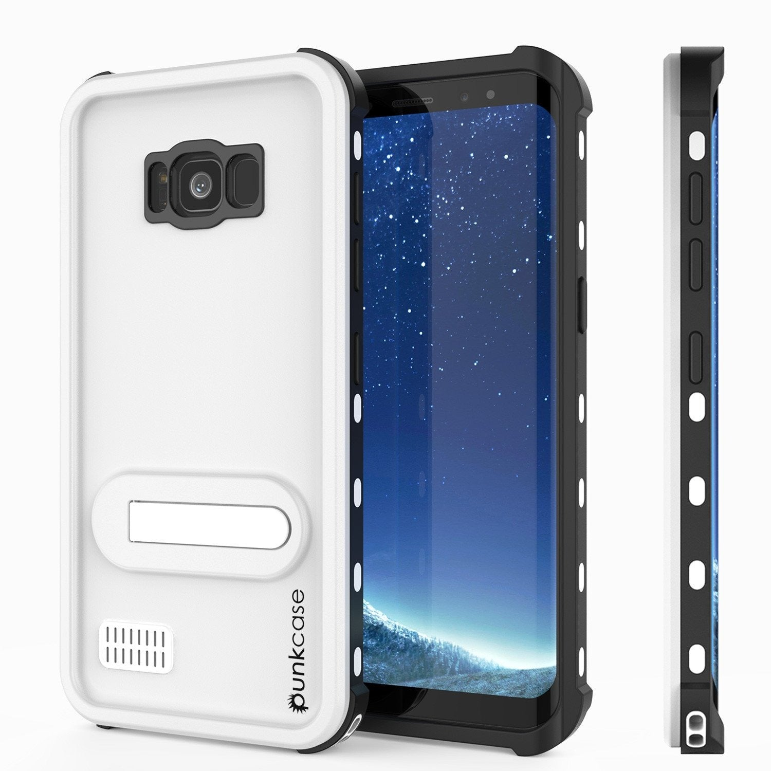 Galaxy S8 Waterproof Case, Punkcase [KickStud Series] [Slim Fit] [IP68 Certified] [Shockproof] [Snowproof] Armor Cover W/ Built-In Kickstand [WHITE]