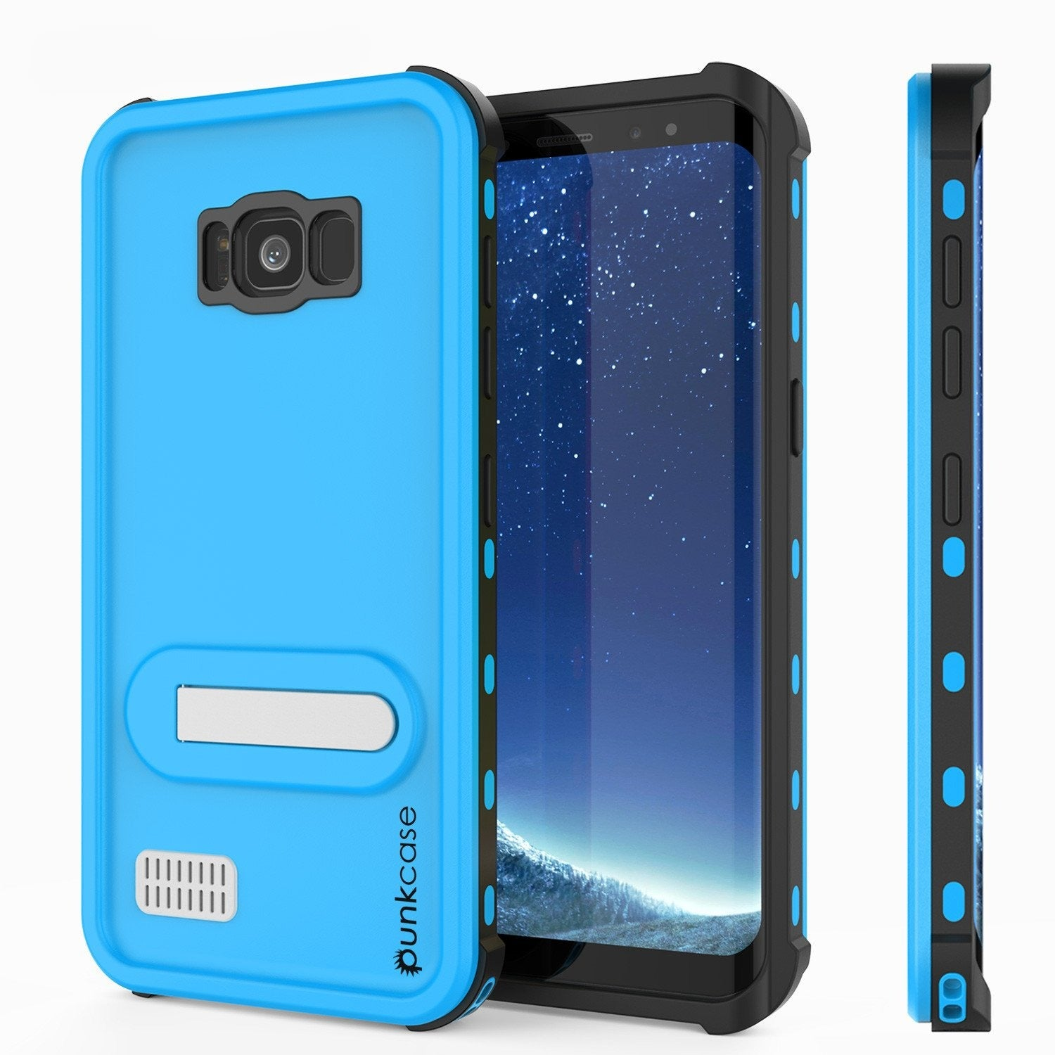 Galaxy S8 Waterproof Case, Punkcase [KickStud Series] [Slim Fit] [IP68 Certified] [Shockproof] [Snowproof] Armor Cover [LIGHT BLUE]