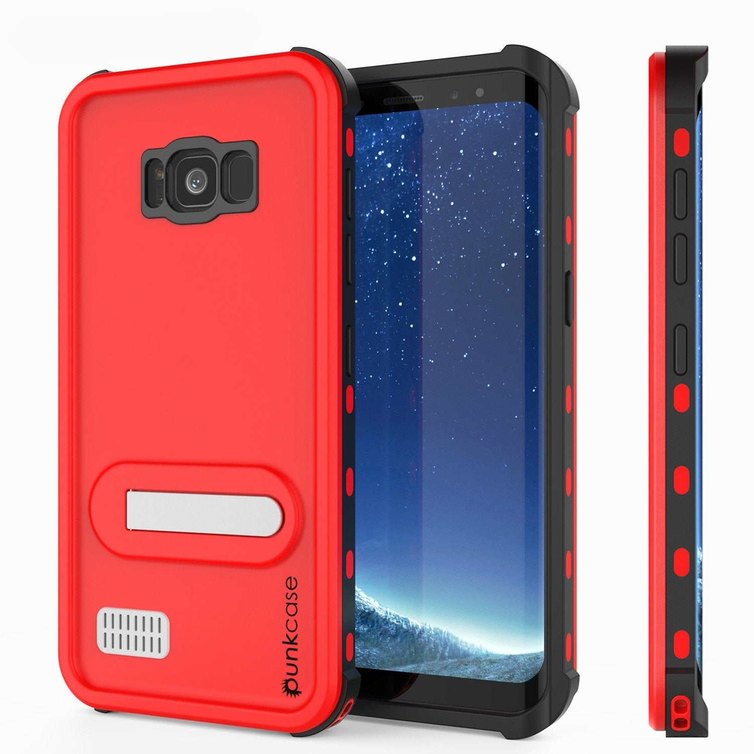 Galaxy S8 Waterproof Case, Punkcase [KickStud Series] [Slim Fit] [IP68 Certified] [Shockproof] [Snowproof] Armor Cover W/ Built-In Kickstand [RED]