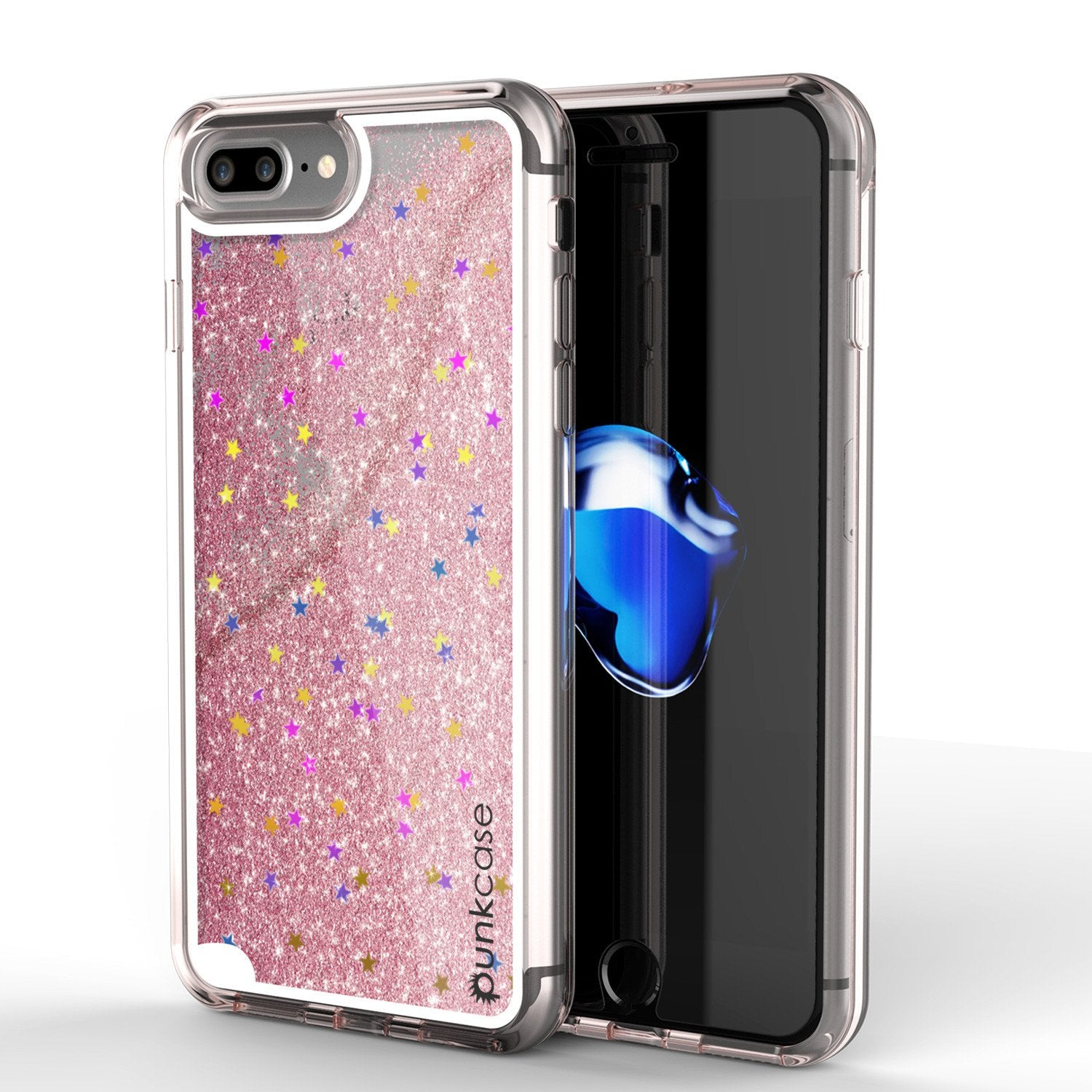 iPhone 8+ Plus Case, PunkCase LIQUID Rose Series, Protective Dual Layer Floating Glitter Cover