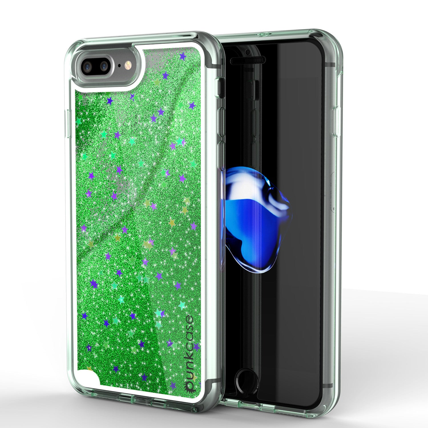 iPhone 7+ Plus Case, PunkCase LIQUID Green Series, Protective Dual Layer Floating Glitter Cover