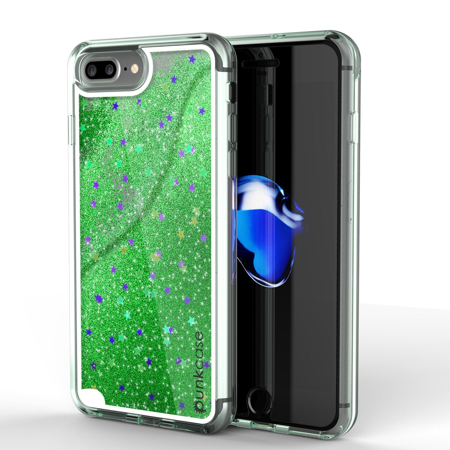 iPhone 8+ Plus Case, PunkCase LIQUID Green Series, Protective Dual Layer Floating Glitter Cover