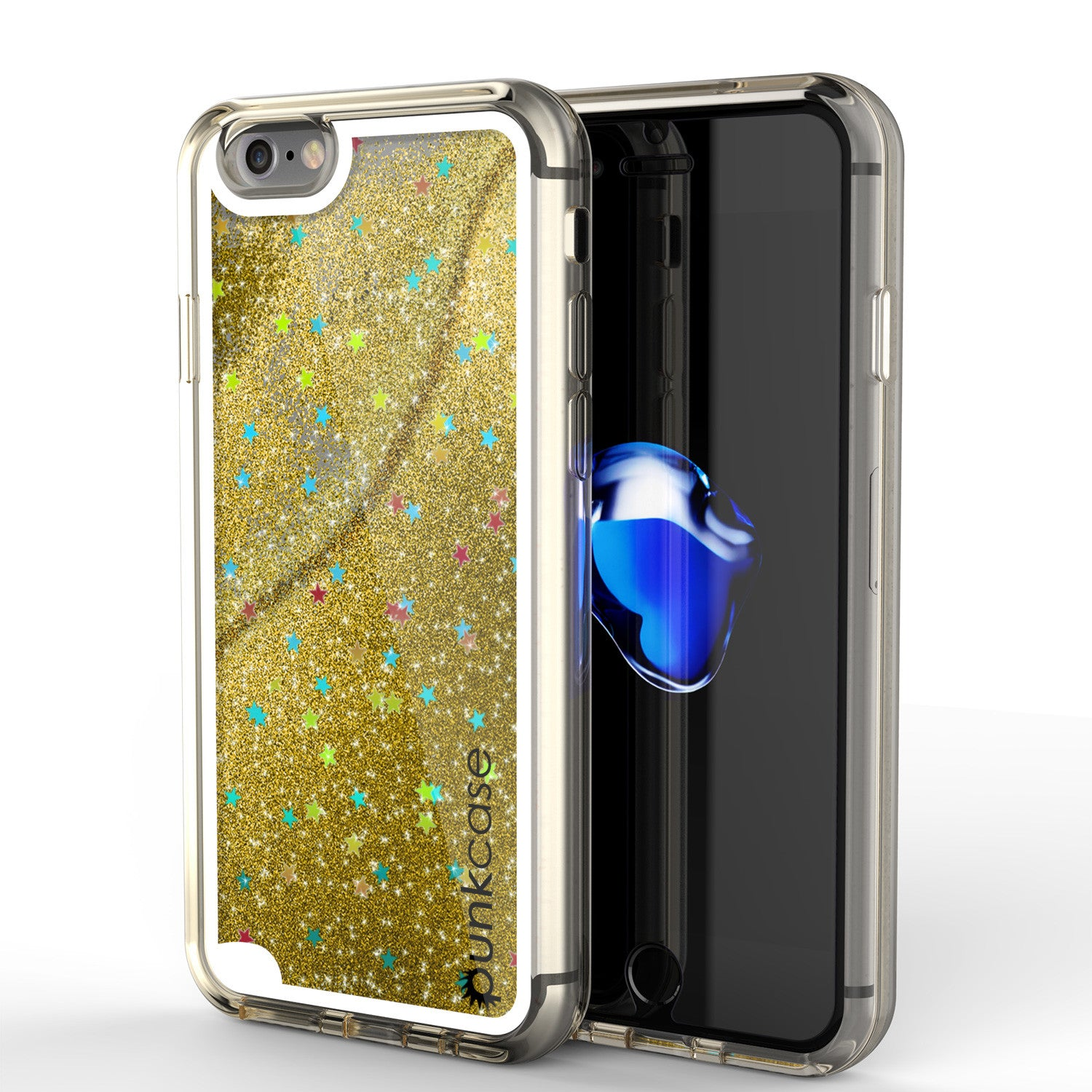 iPhone 7 Case, PunkCase LIQUID Gold Series, Protective Dual Layer Floating Glitter Cover