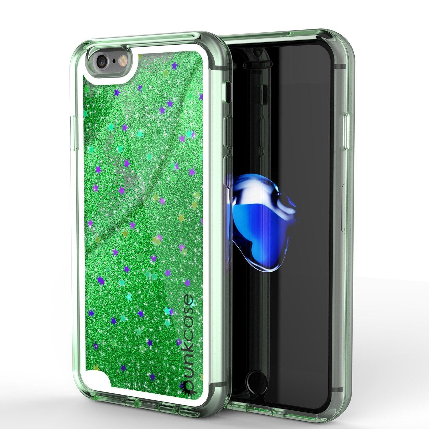 "iPhone SE (4.7"") Case, PunkCase LIQUID Green Series, Protective Dual Layer Floating Glitter Cover"