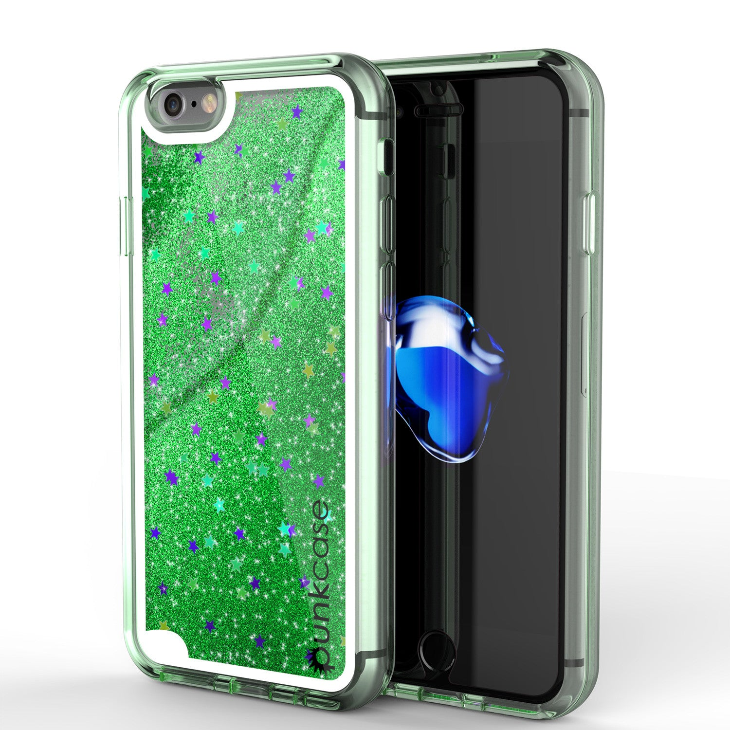 iPhone 7 Case, PunkCase LIQUID Green Series, Protective Dual Layer Floating Glitter Cover