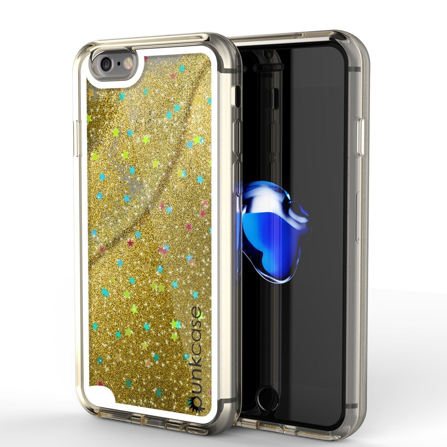 "iPhone SE (4.7"") Case, PunkCase LIQUID Gold Series, Protective Dual Layer Floating Glitter Cover"