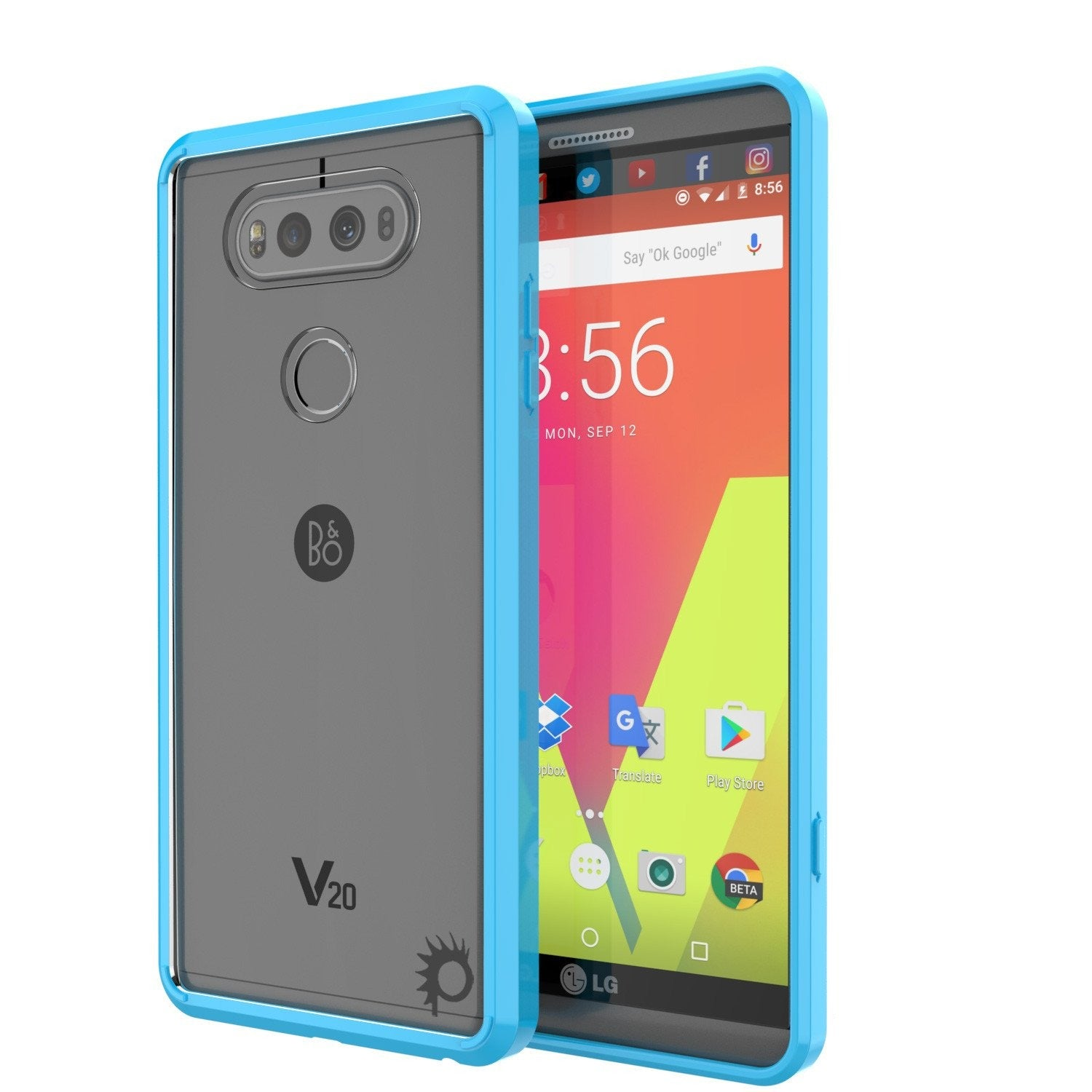 LG v40 Case Punkcase® LUCID 2.0 Light Blue Series w/ PUNK SHIELD Glass Screen Protector | Ultra Fit