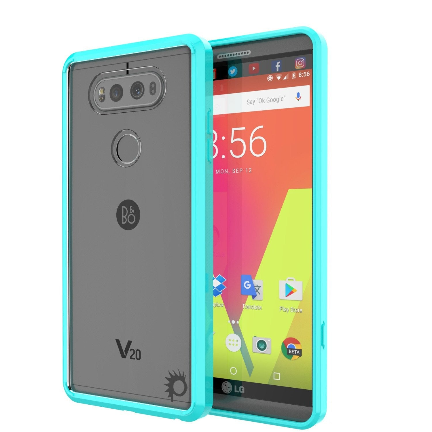 LG v40 Case Punkcase® LUCID 2.0 Teal Series w/ PUNK SHIELD Glass Screen Protector | Ultra Fit