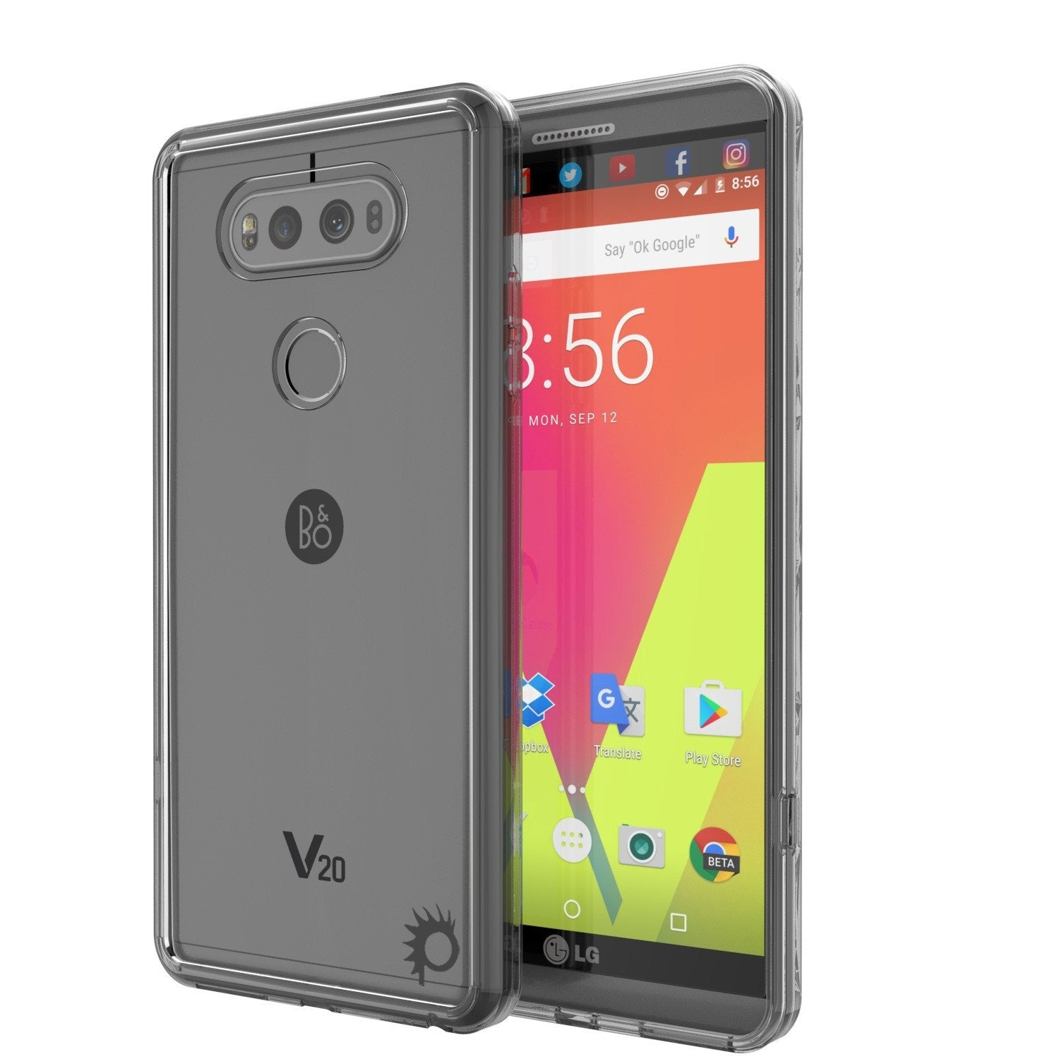 LG v20 Case Punkcase® LUCID 2.0 Crystal Black Series w/ PUNK SHIELD Glass Screen Protector | Ultra Fit
