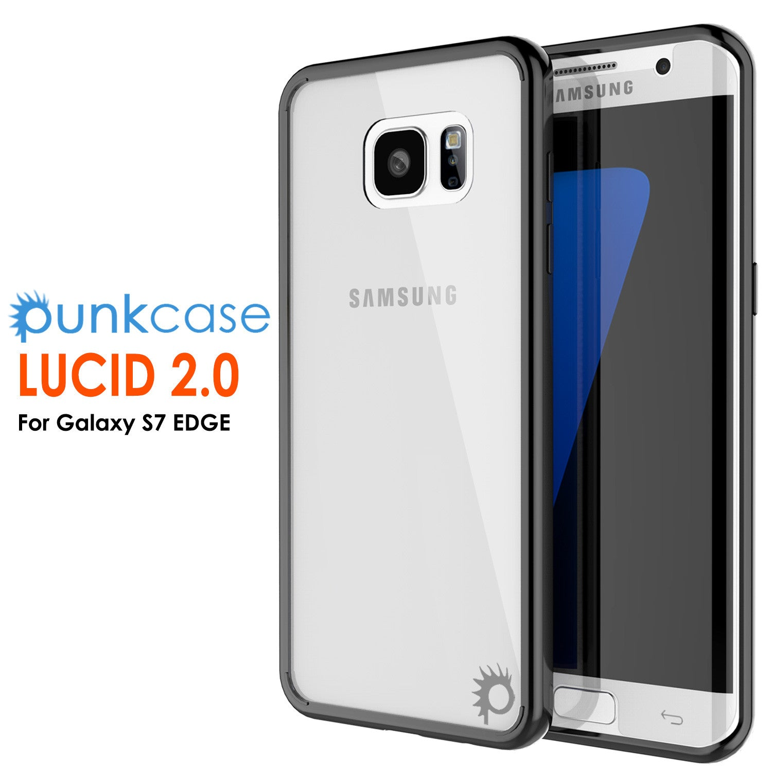S7 Edge Case Punkcase® LUCID 2.0 Black Series w/ PUNK SHIELD Screen Protector | Ultra Fit