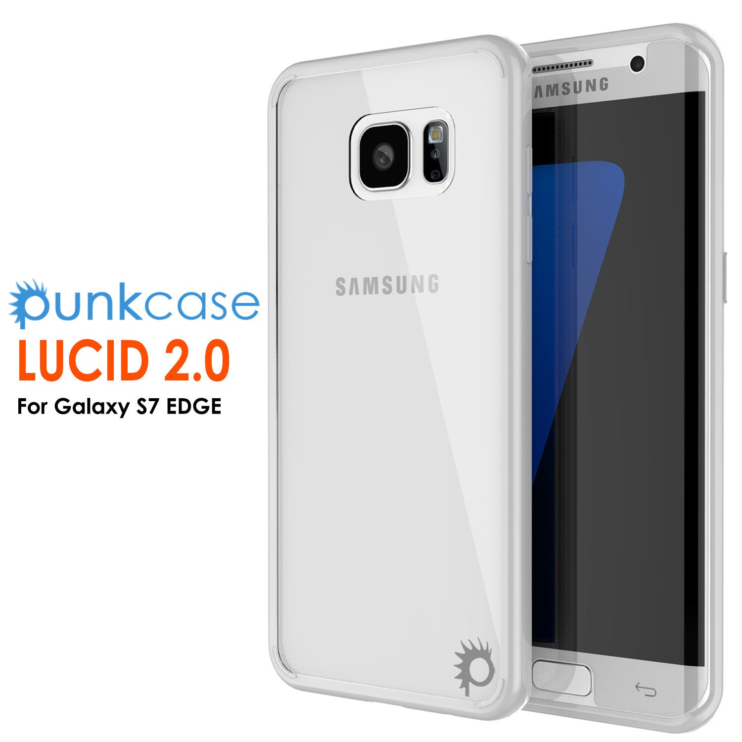 S7 Edge Case Punkcase® LUCID 2.0 White Series w/ PUNK SHIELD Screen Protector | Ultra Fit