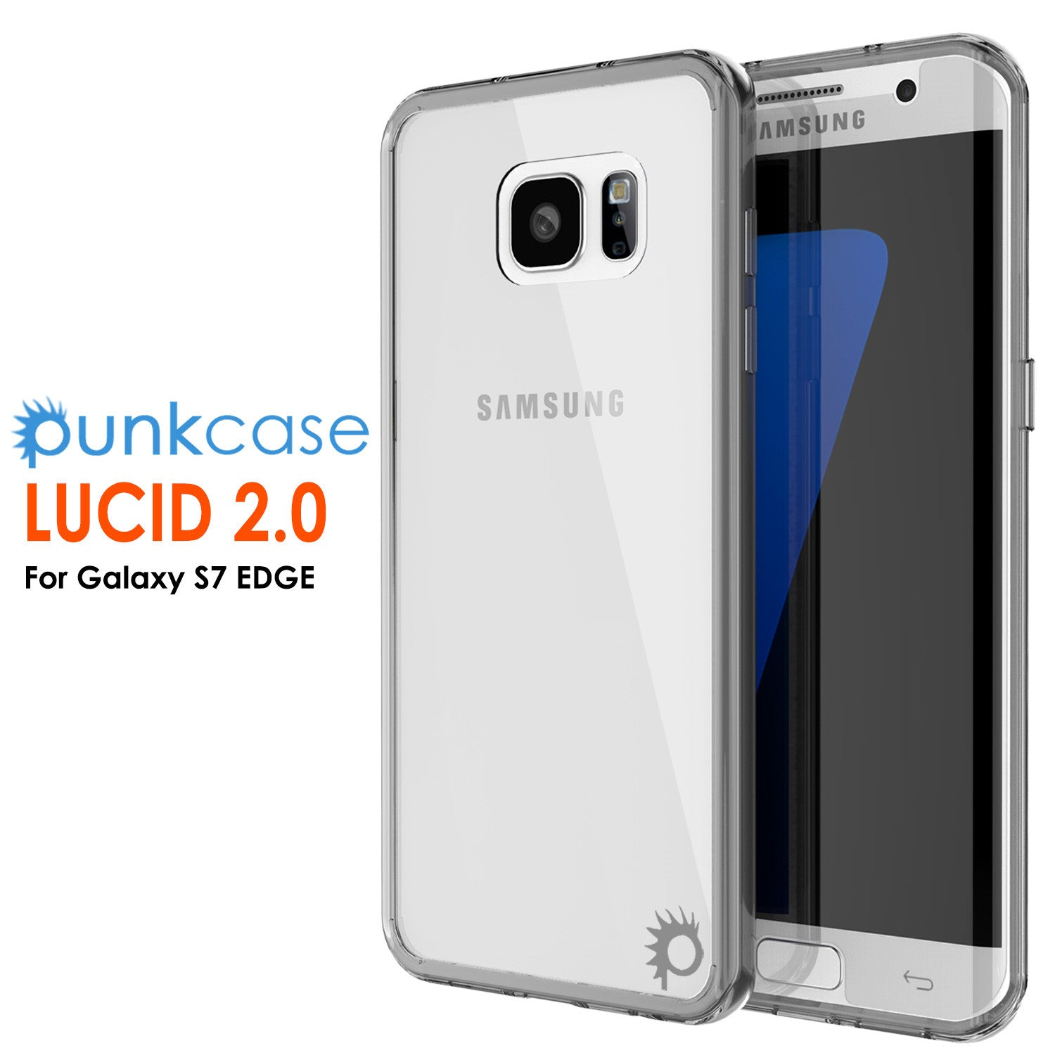 S7 Edge Case Punkcase® LUCID 2.0 Crystal Black Series w/ PUNK SHIELD Screen Protector | Ultra Fit