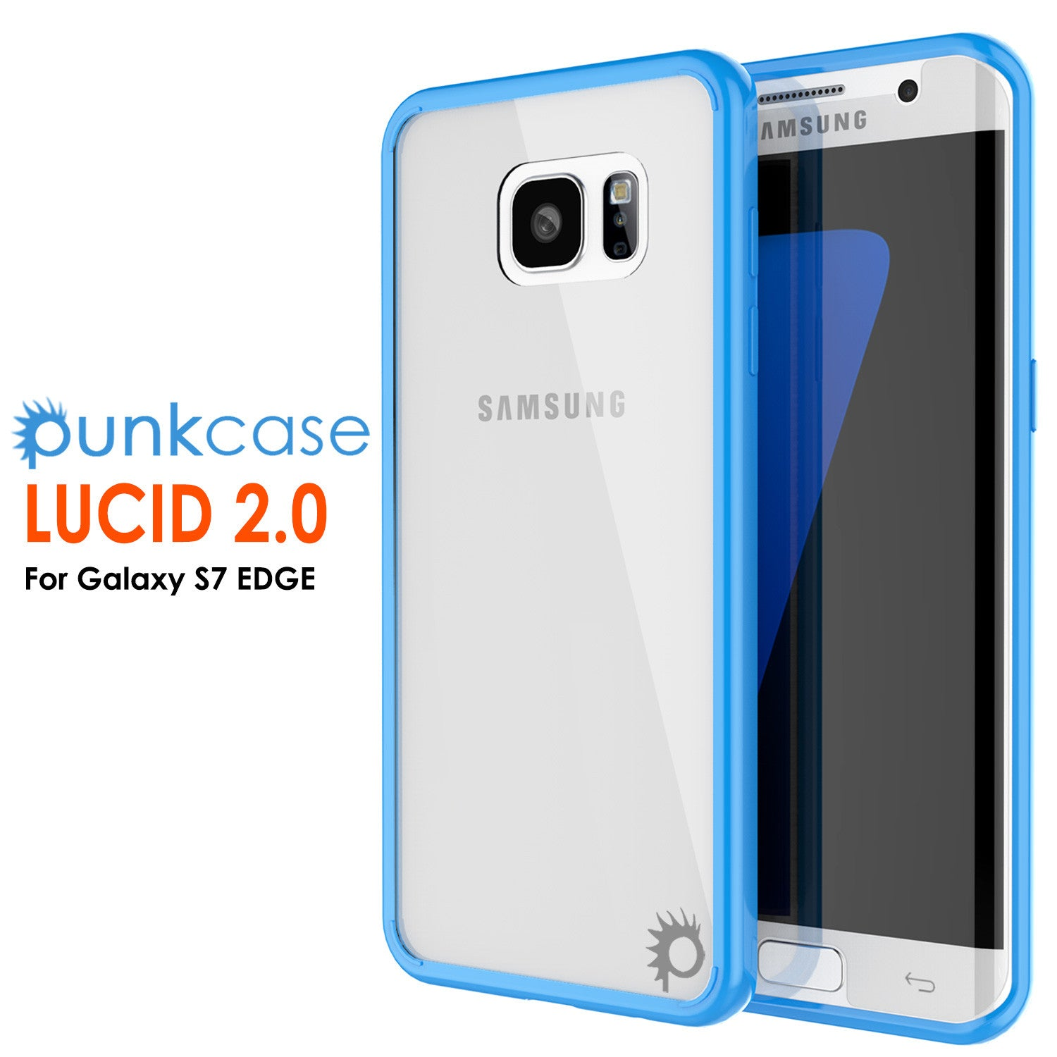 S7 Edge Case Punkcase® LUCID 2.0 Light Blue Series w/ PUNK SHIELD Screen Protector | Ultra Fit