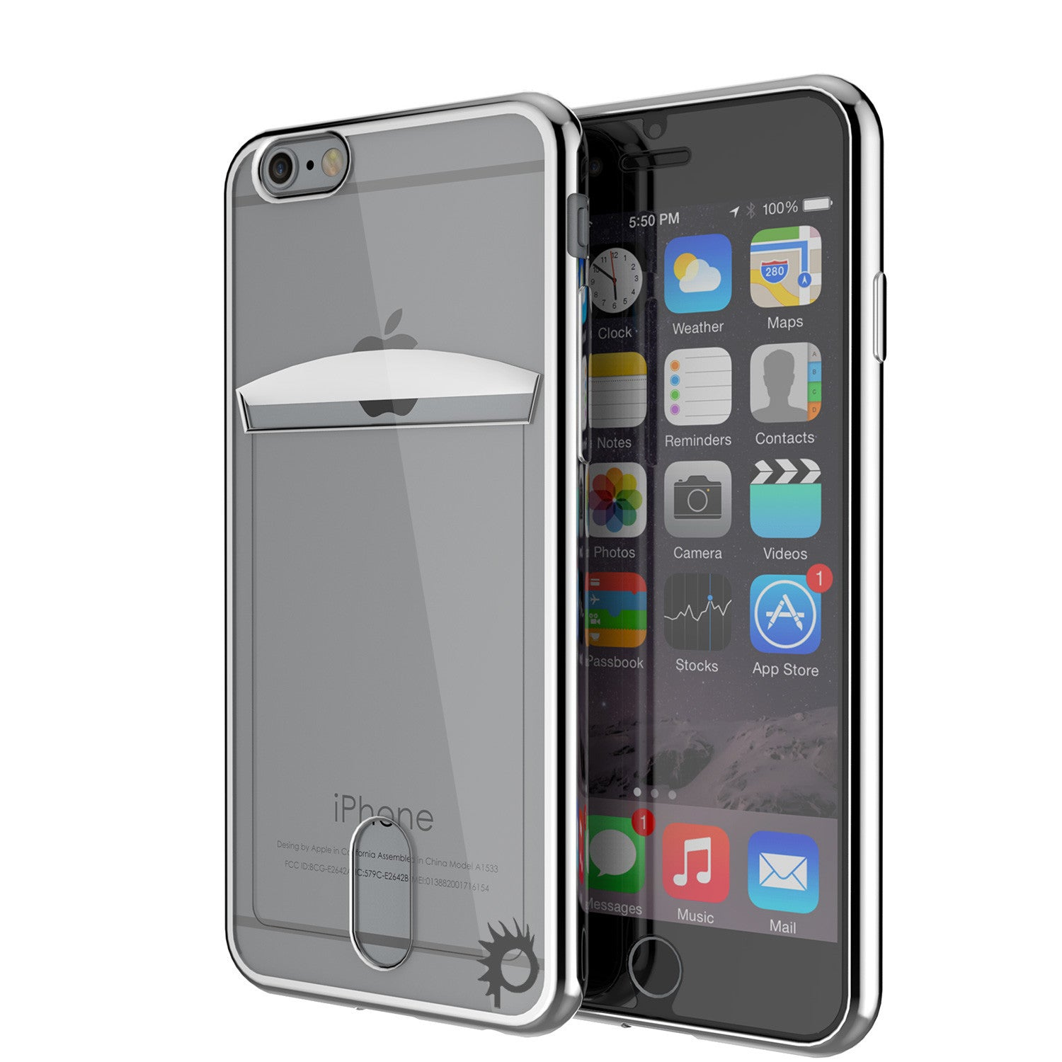 iPhone 6s+ Plus/6+ Plus Case, PUNKCASE® LUCID Silver Series | Card Slot | SHIELD Screen Protector