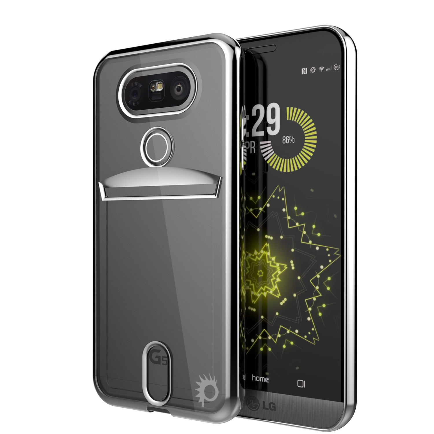 LG G5 Case, PUNKCASE® Silver LUCID  Series | Card Slot | PUNK SHIELD Screen Protector | Ultra Fit