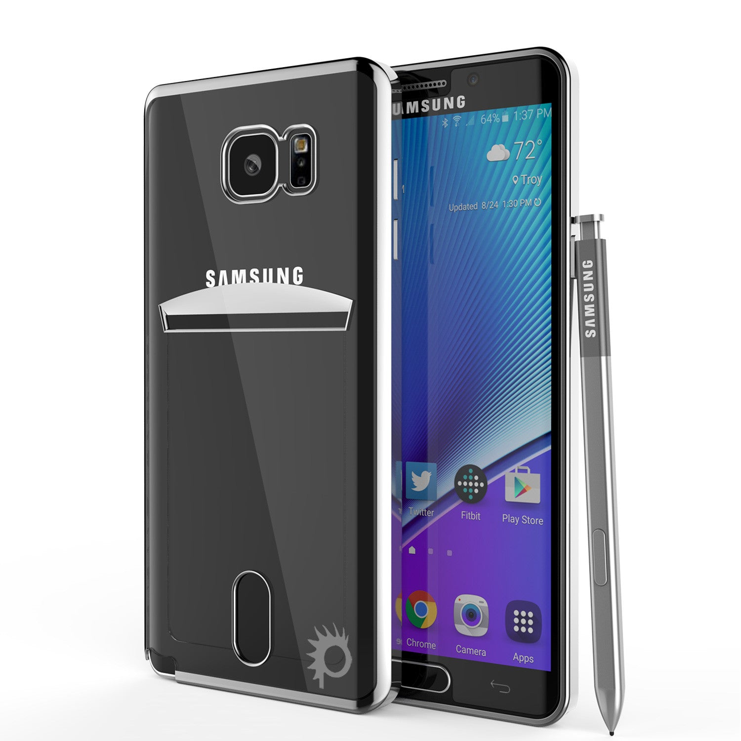 Galaxy Note 5 Case, PUNKCASE® LUCID Silver Series | Card Slot | SHIELD Screen Protector | Ultra fit