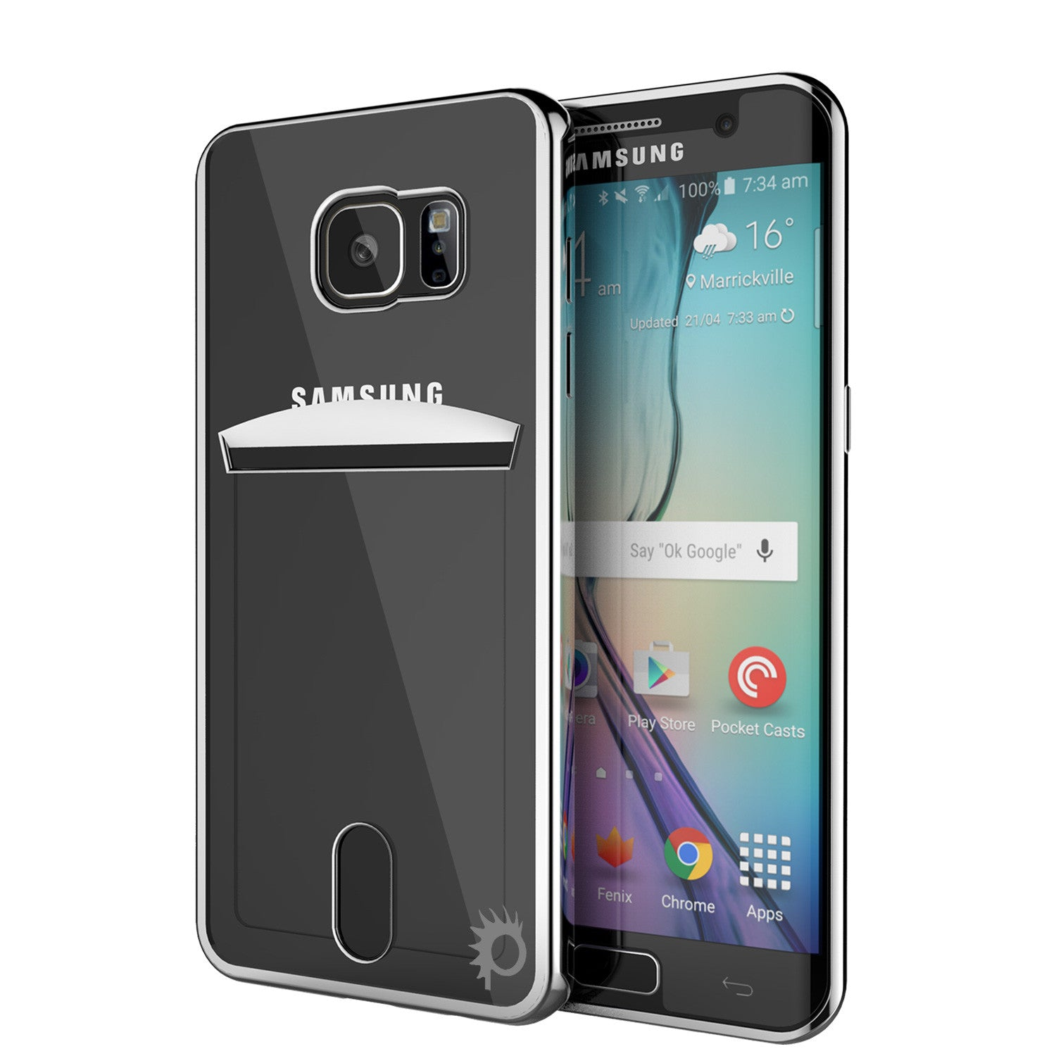 Galaxy S6 EDGE+ Plus Case, PUNKCASE® LUCID Silver Series | Card Slot | SHIELD Screen Protector