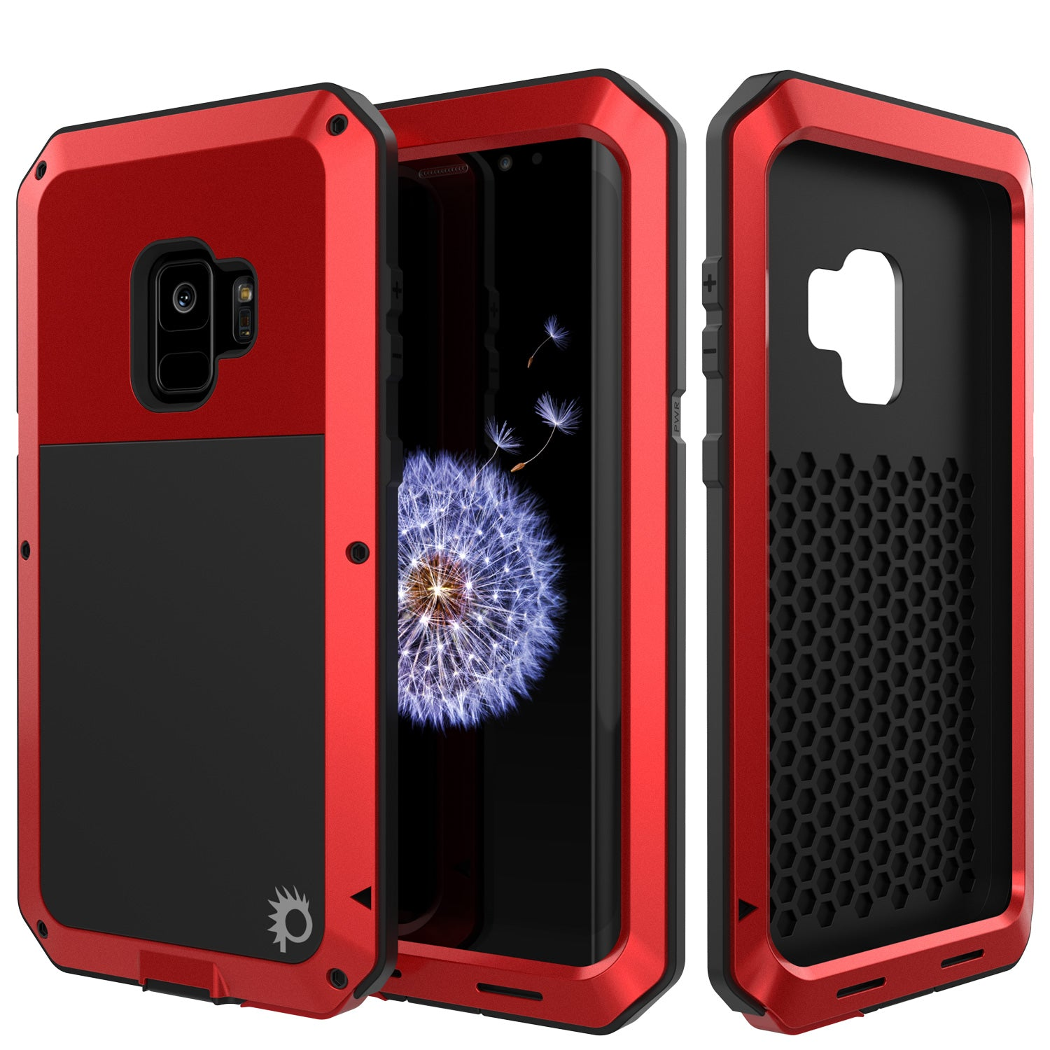 Galaxy S9 Metal Case, Heavy Duty Military Grade Rugged Armor Cover [Red]