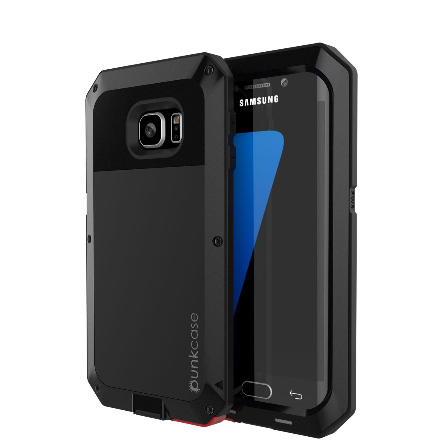 Galaxy S7 EDGE Case, PUNKcase Metallic Black Shockproof  Slim Metal Armor Case