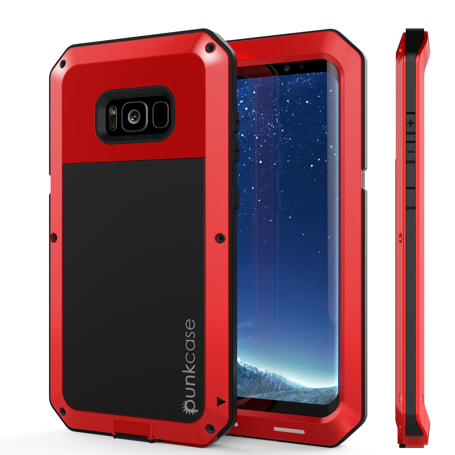Galaxy S8+ Plus  Case, PUNKcase Metallic Red Shockproof  Slim Metal Armor Case [Red]