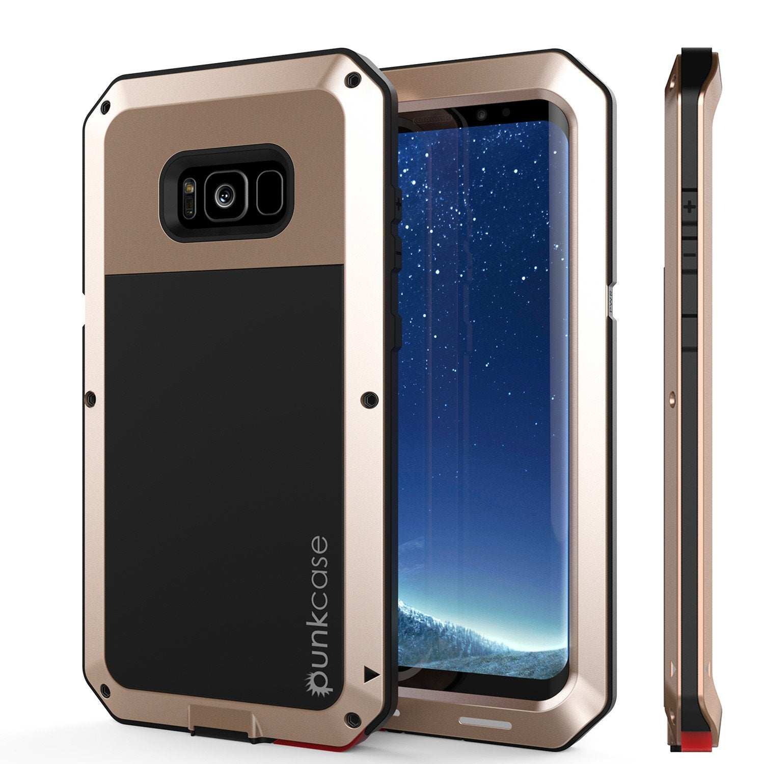 Galaxy Note 8  Case, PUNKcase Metallic Gold Shockproof  Slim Metal Armor Case [Gold]