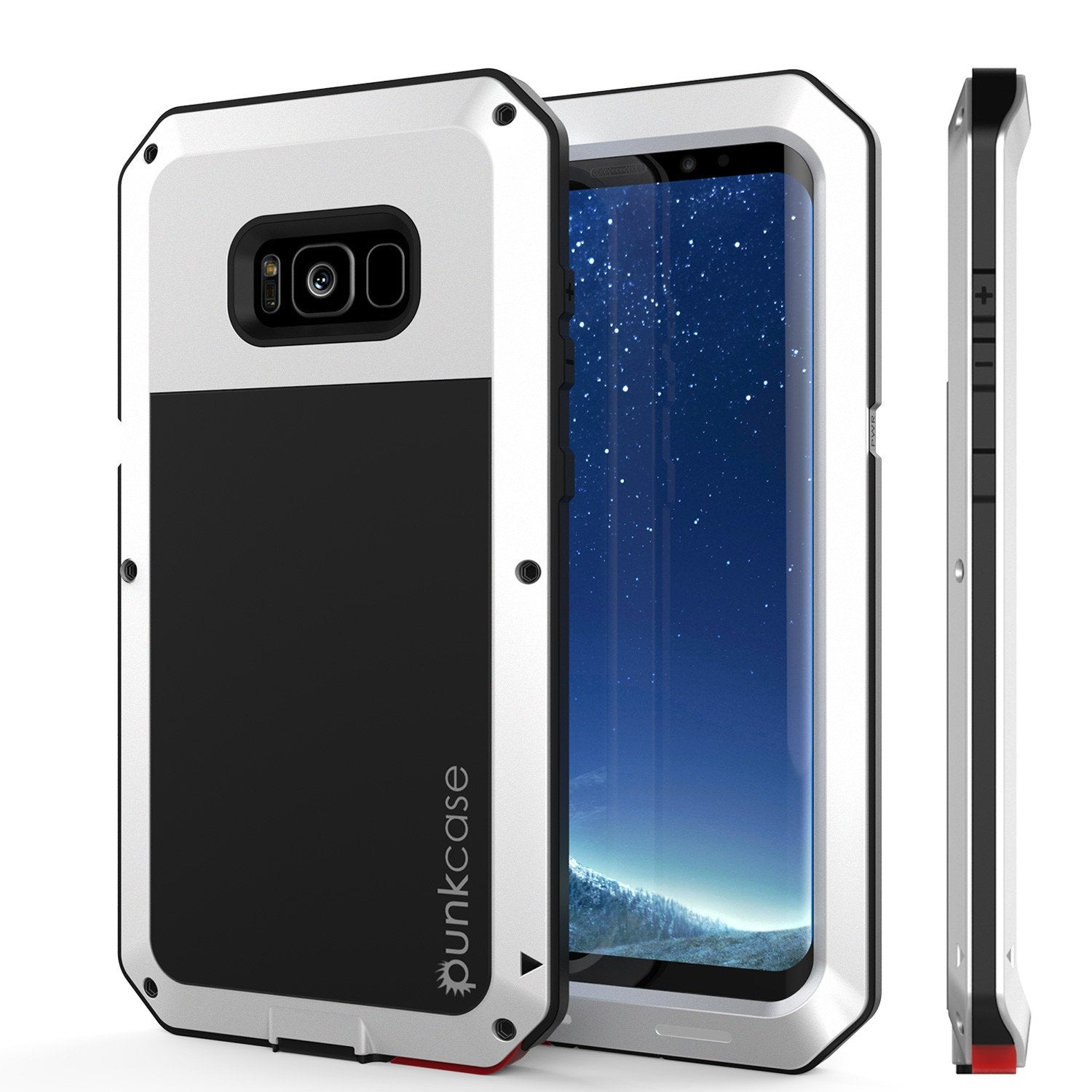 Galaxy Note 8  Case, PUNKcase Metallic White Shockproof  Slim Metal Armor Case [White]
