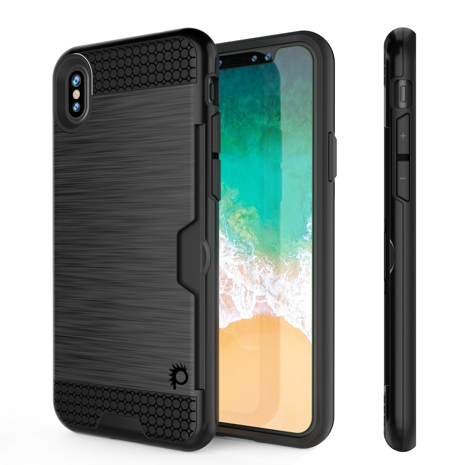 iPhone X Case, PUNKcase [SLOT Series] Slim Fit Dual-Layer Armor Cover [Black]