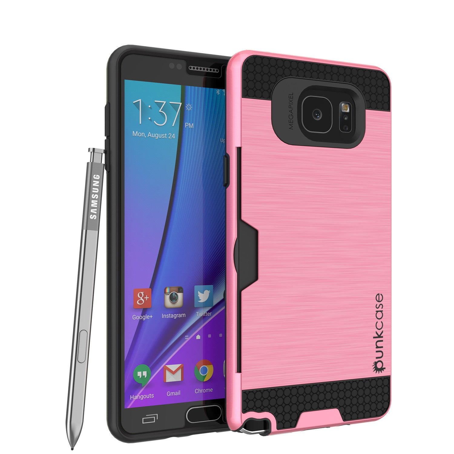 Galaxy Note 5 Case PunkCase SLOT Pink Series Slim Armor Soft Cover Case w/ Tempered Glass