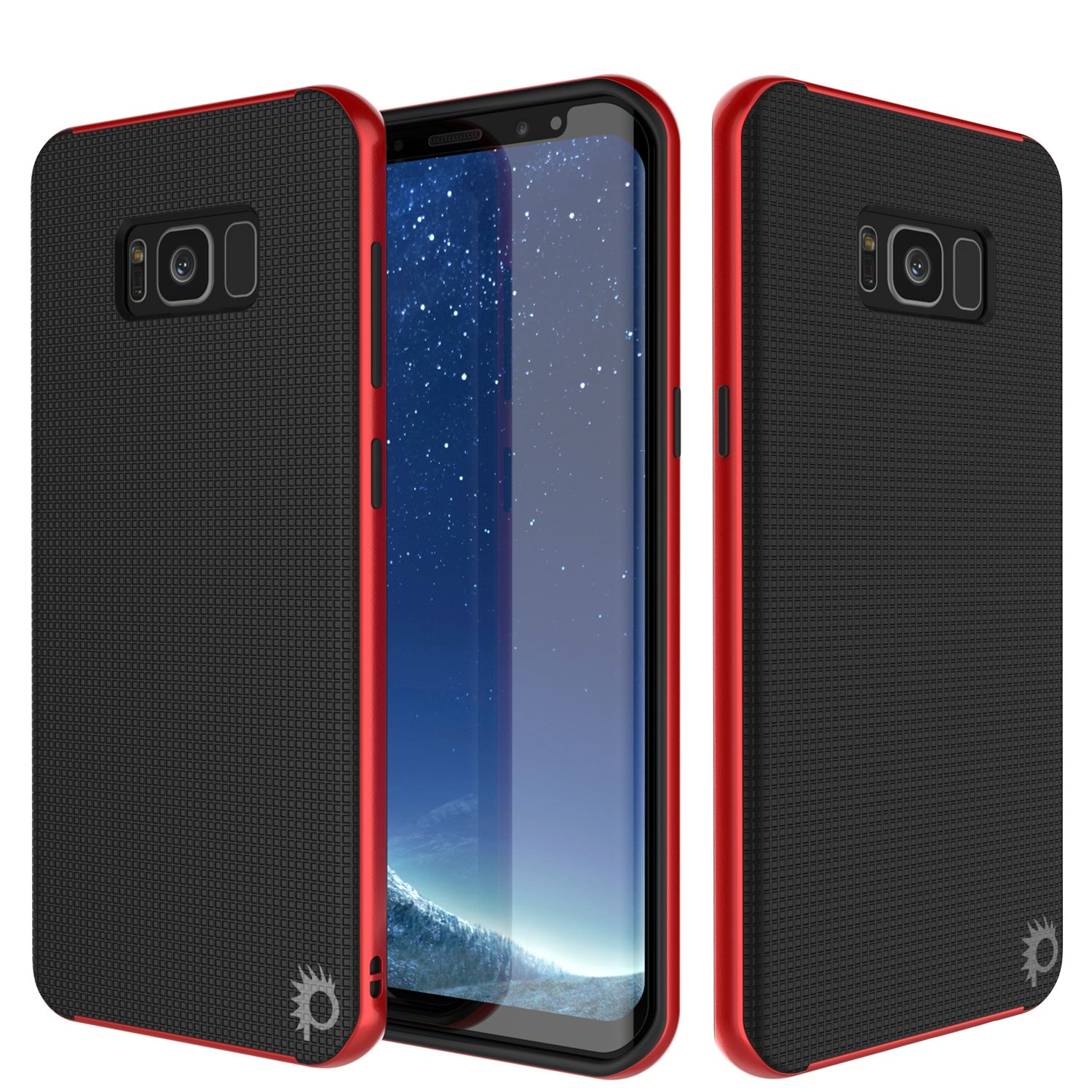 Galaxy S8 Case, PunkCase Stealth Red Series Hybrid 3-Piece Shockproof Dual Layer Cover