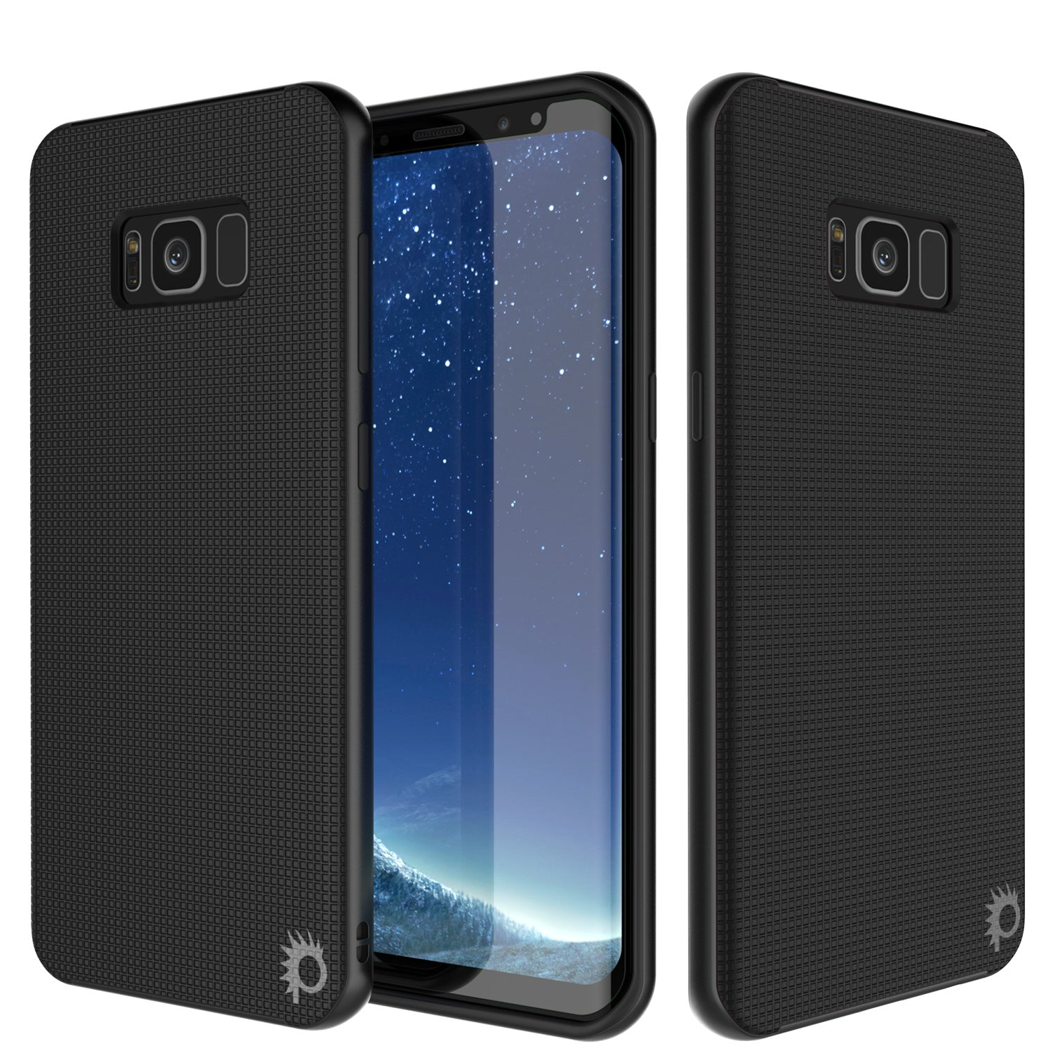Galaxy S8 Case, PunkCase Stealth Black Series Hybrid 3-Piece Shockproof Dual Layer Cover