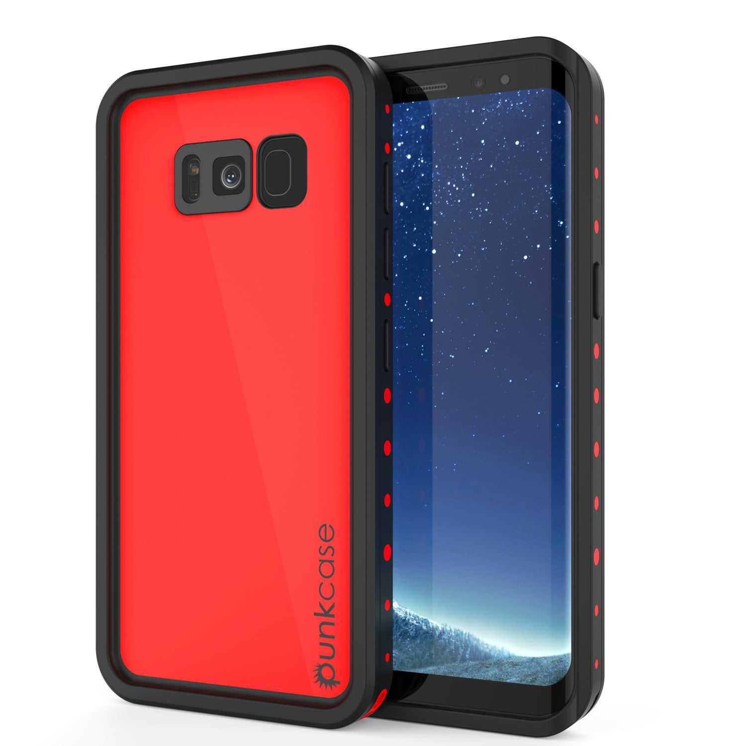 Galaxy S8 Waterproof Case PunkCase StudStar Red Thin 6.6ft Underwater IP68 Shock/Snow Proof