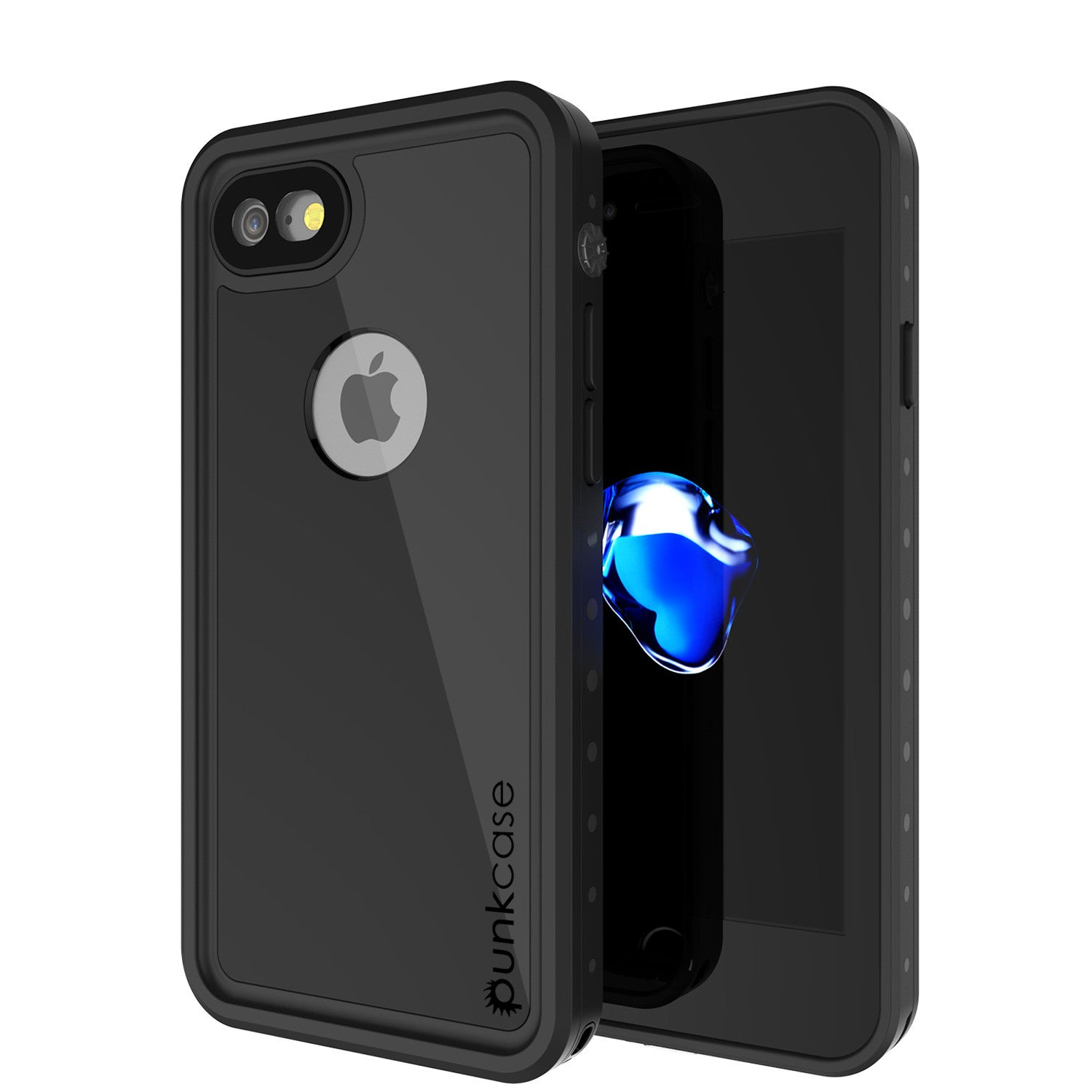 iPhone 7 Waterproof IP68 Case, Punkcase [Black] [StudStar Series] [Slim Fit] [Dirtproof] [Snowproof]