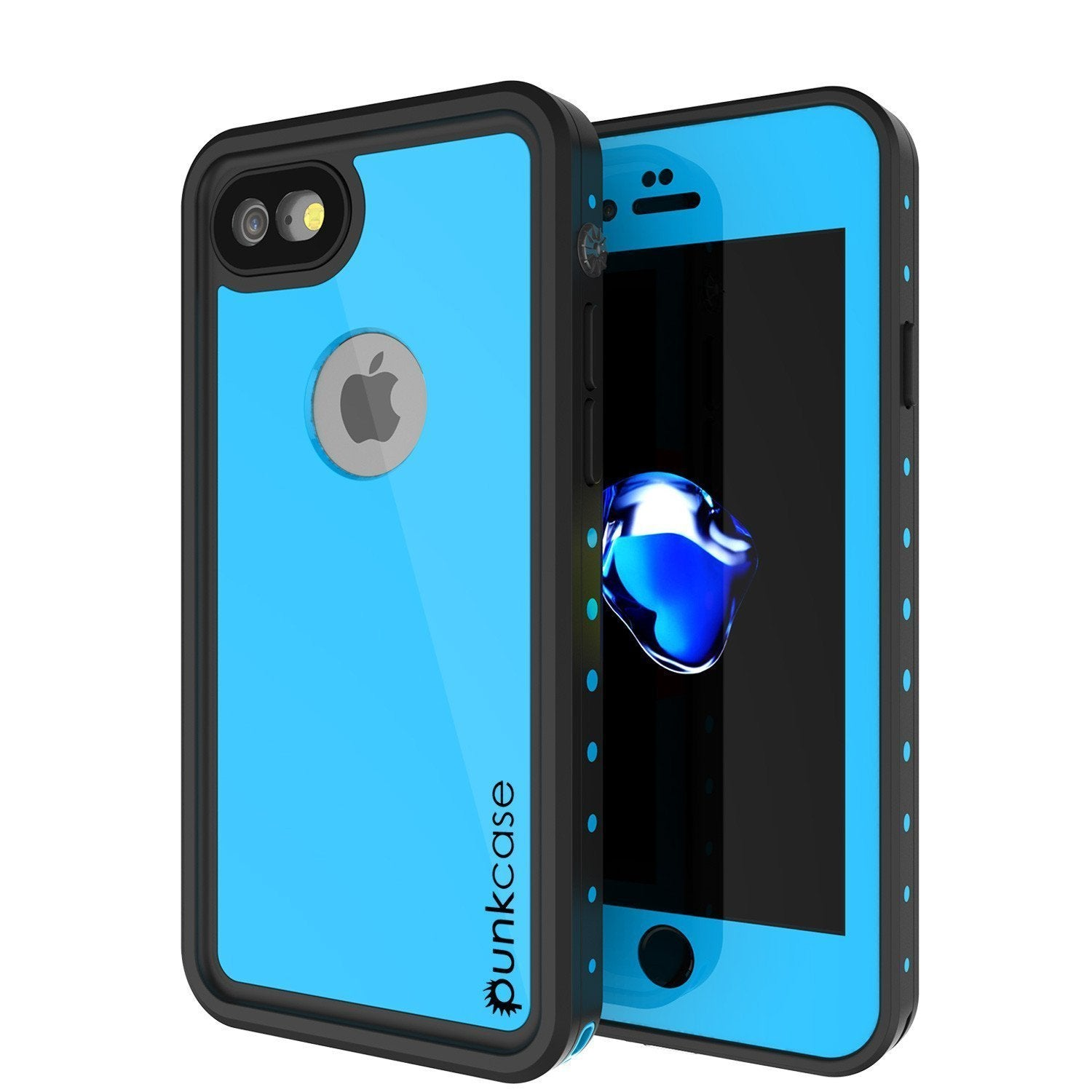 low priced ddeaf b379f iPhone 8 Waterproof Case, Punkcase [Light Blue] [StudStar Series] [Slim  Fit] [IP68 Certified] [Dirt/Snow Proof]