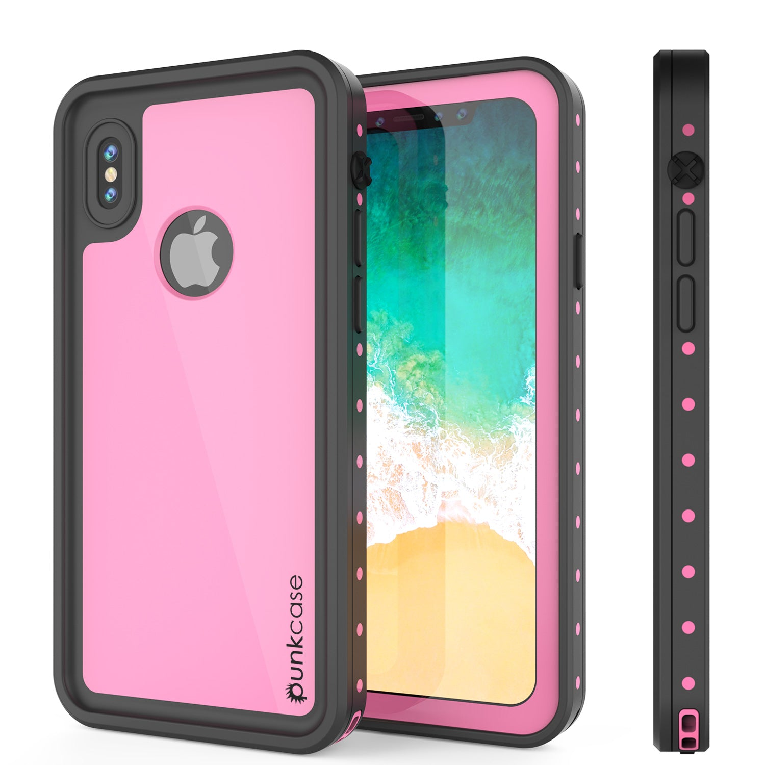 iPhone X Waterproof IP68 Case, Punkcase [Pink] [StudStar Series] [Slim Fit] [Dirtproof]