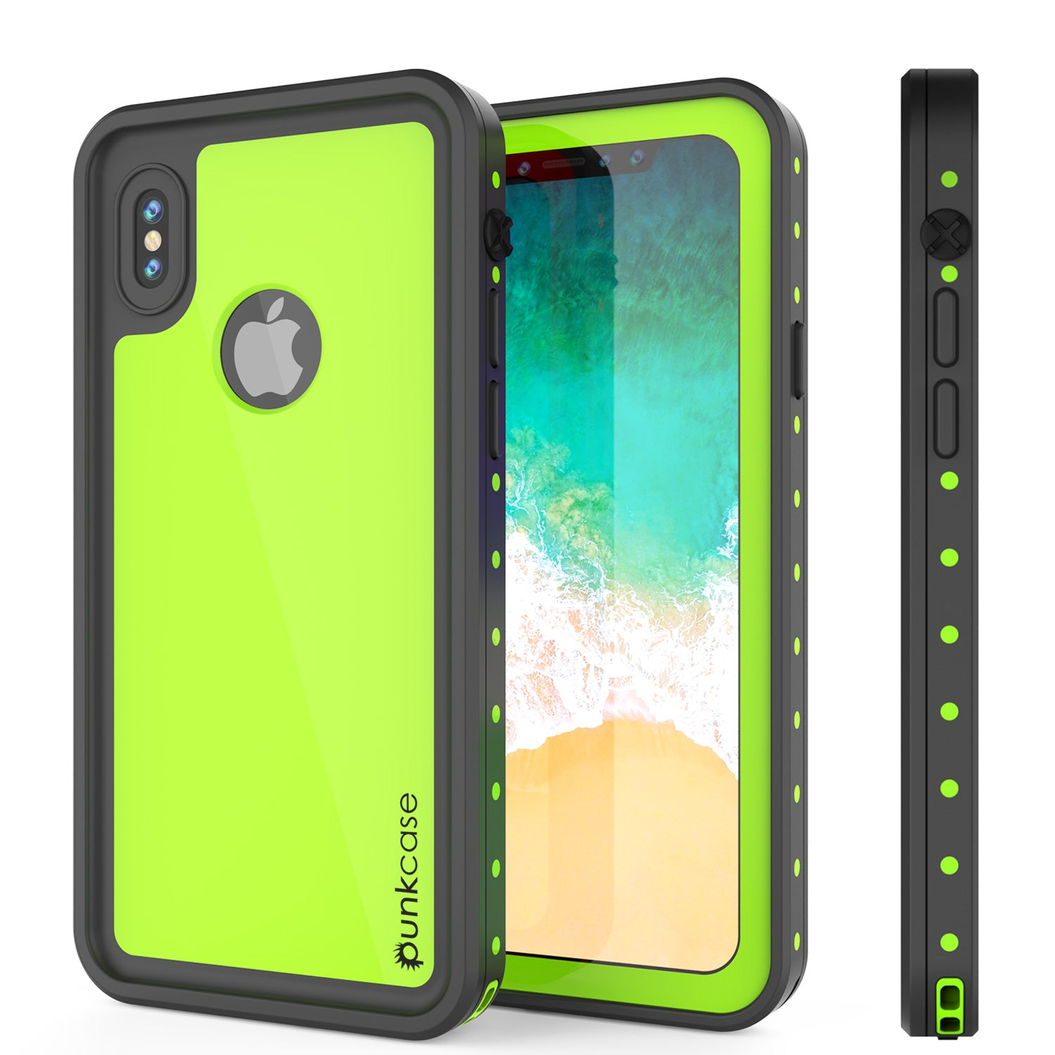 iPhone X Waterproof IP68 Case, Punkcase [Light green] [StudStar Series] [Slim Fit] [Dirtproof]