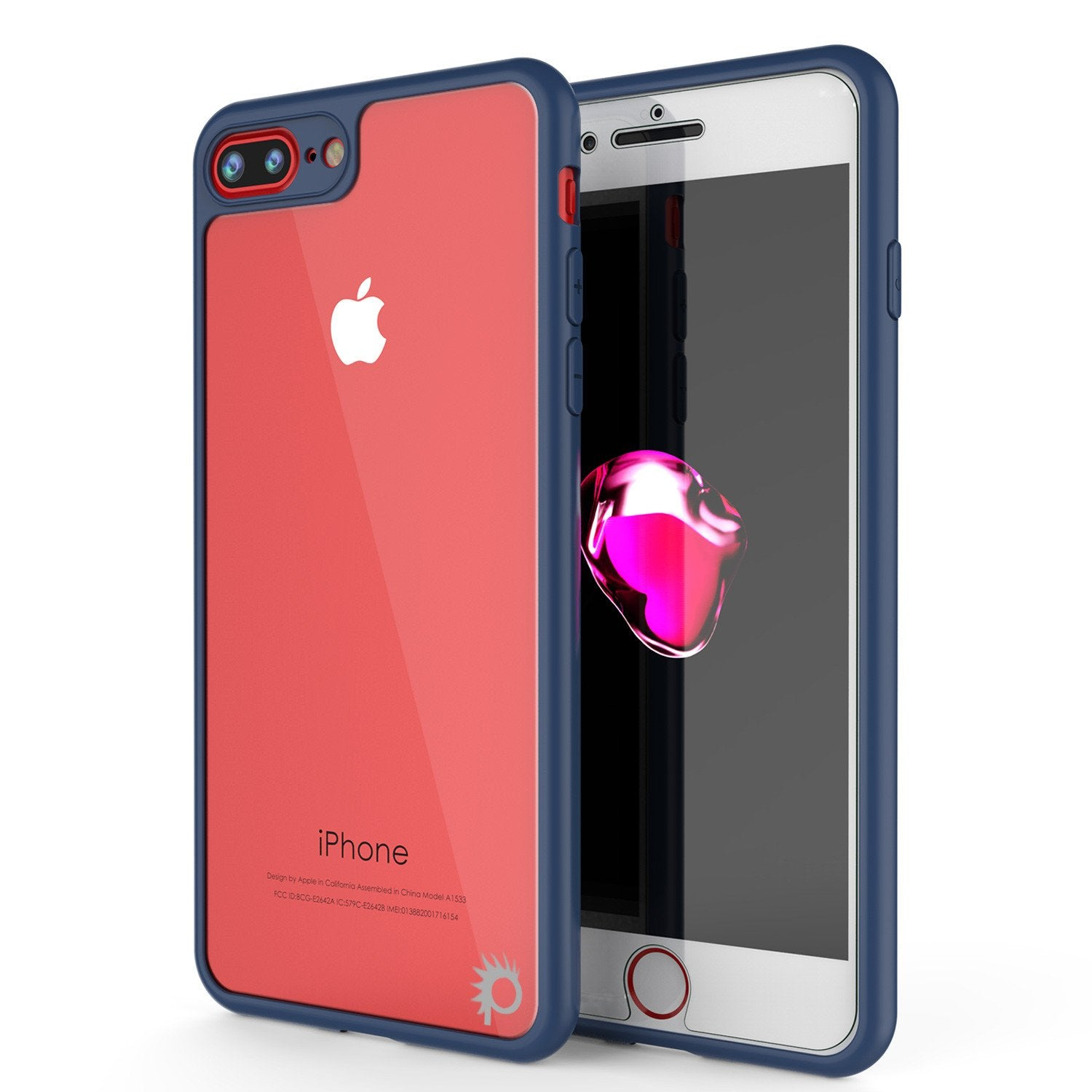 iPhone 8+ Plus Case [MASK Series] [NAVY] Full Body Hybrid Dual Layer TPU Cover W/ protective Tempered Glass Screen Protector
