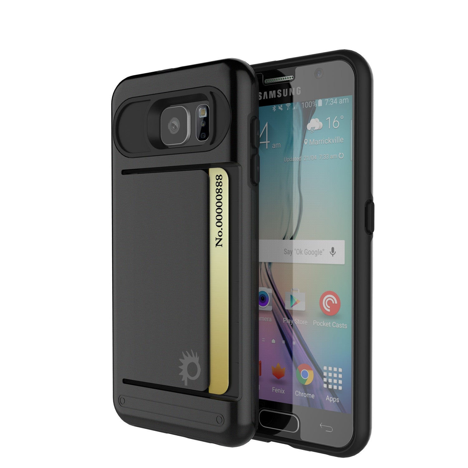 Galaxy s6 Case PunkCase CLUTCH Black Series Slim Armor Soft Cover Case w/ Tempered Glass
