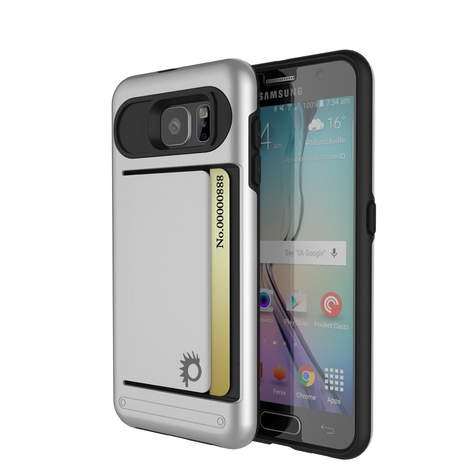 Galaxy s6 Case PunkCase CLUTCH Silver Series Slim Armor Soft Cover Case w/ Tempered Glass