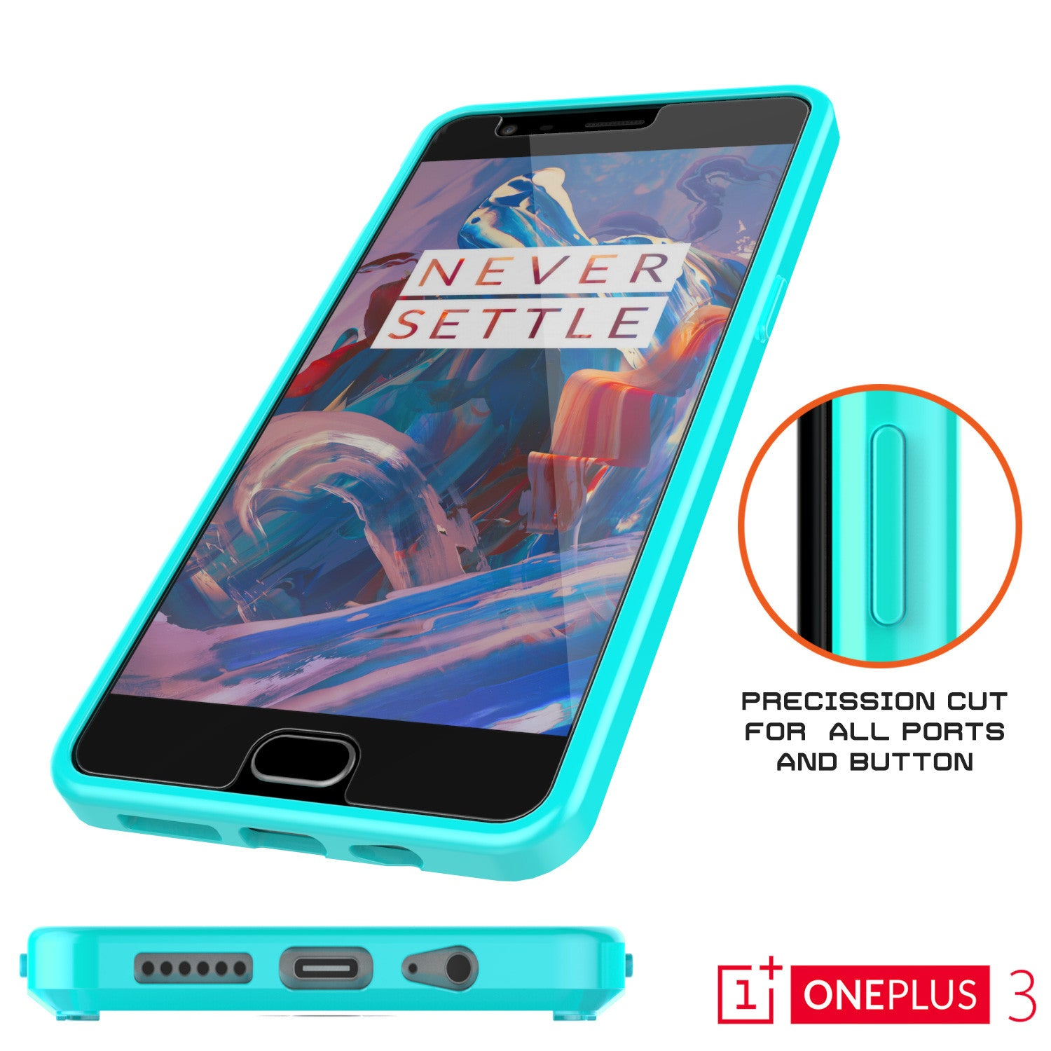 OnePlus 3 Case Punkcase® LUCID 2.0 Teal Series w/ SHIELD GLASS Lifetime Warranty Exchange