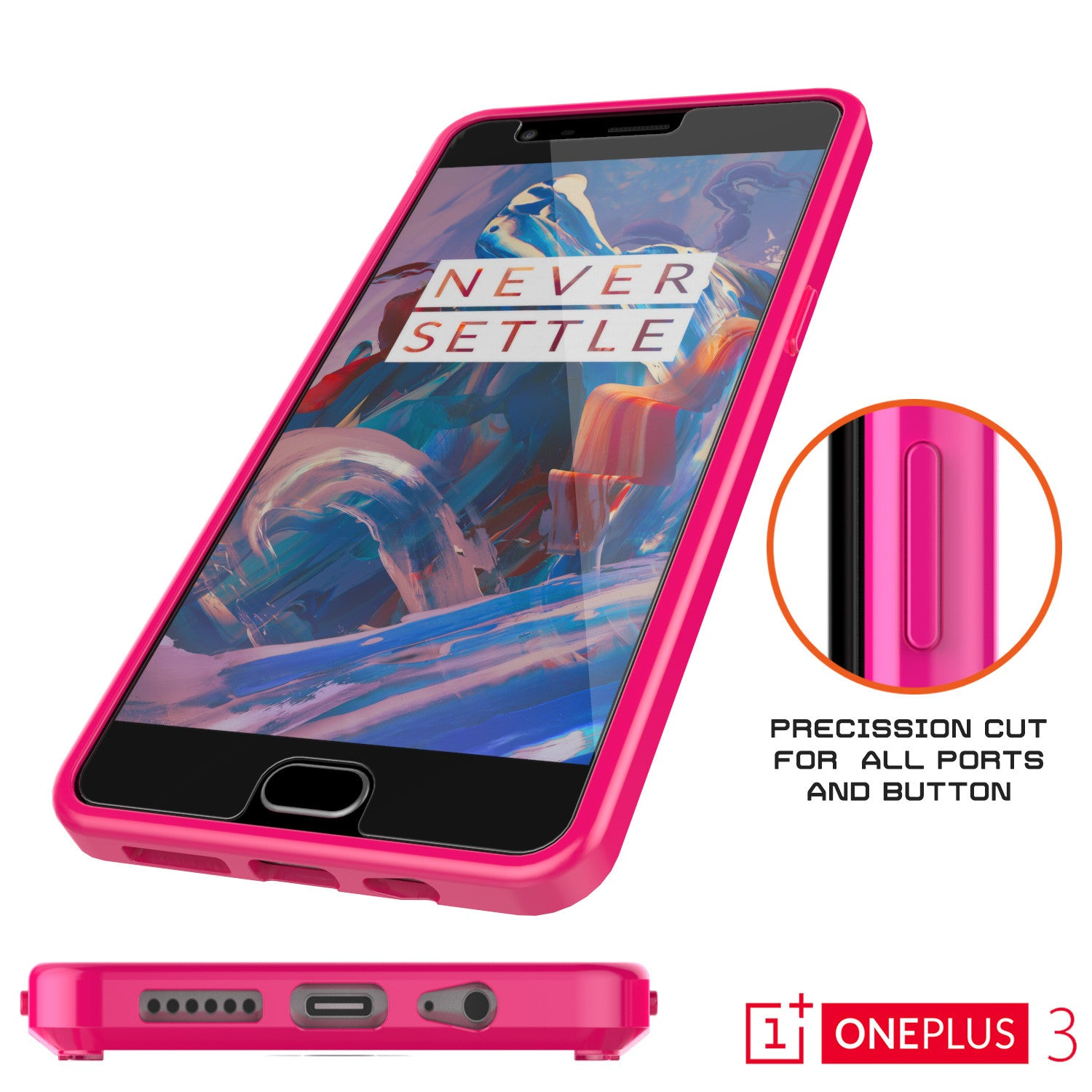 OnePlus 3 Case Punkcase® LUCID 2.0 Pink Series w/ SHIELD GLASS Lifetime Warranty Exchange