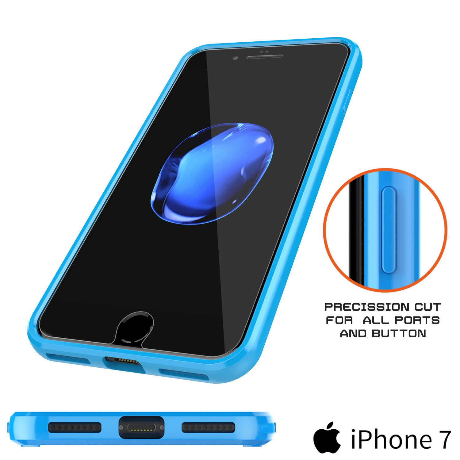 iPhone 7 Case Punkcase® LUCID 2.0 Light Blue Series w/ PUNK SHIELD Screen Protector | Ultra Fit