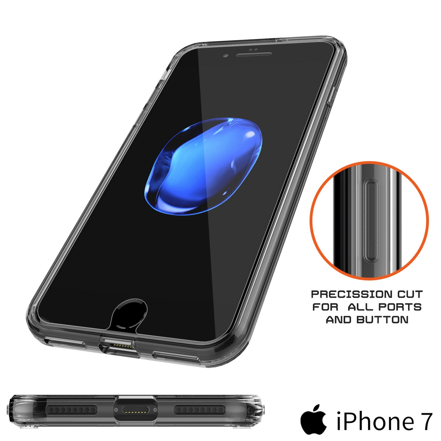 iPhone 7 Case Punkcase® LUCID 2.0 Crystal Black Series w/ PUNK SHIELD Screen Protector | Ultra Fit