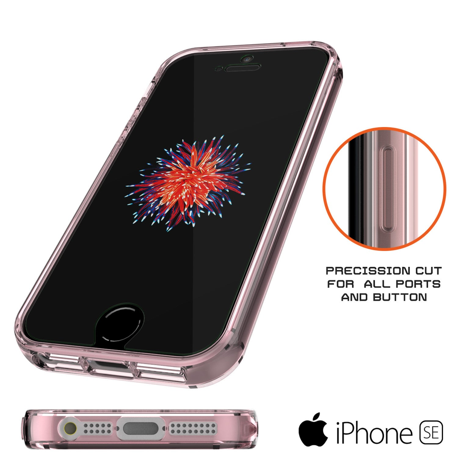 iPhone SE/5S/5 Case Punkcase® LUCID 2.0 Crystal Pink Series w/ PUNK SHIELD Screen Protector | Ultra Fit