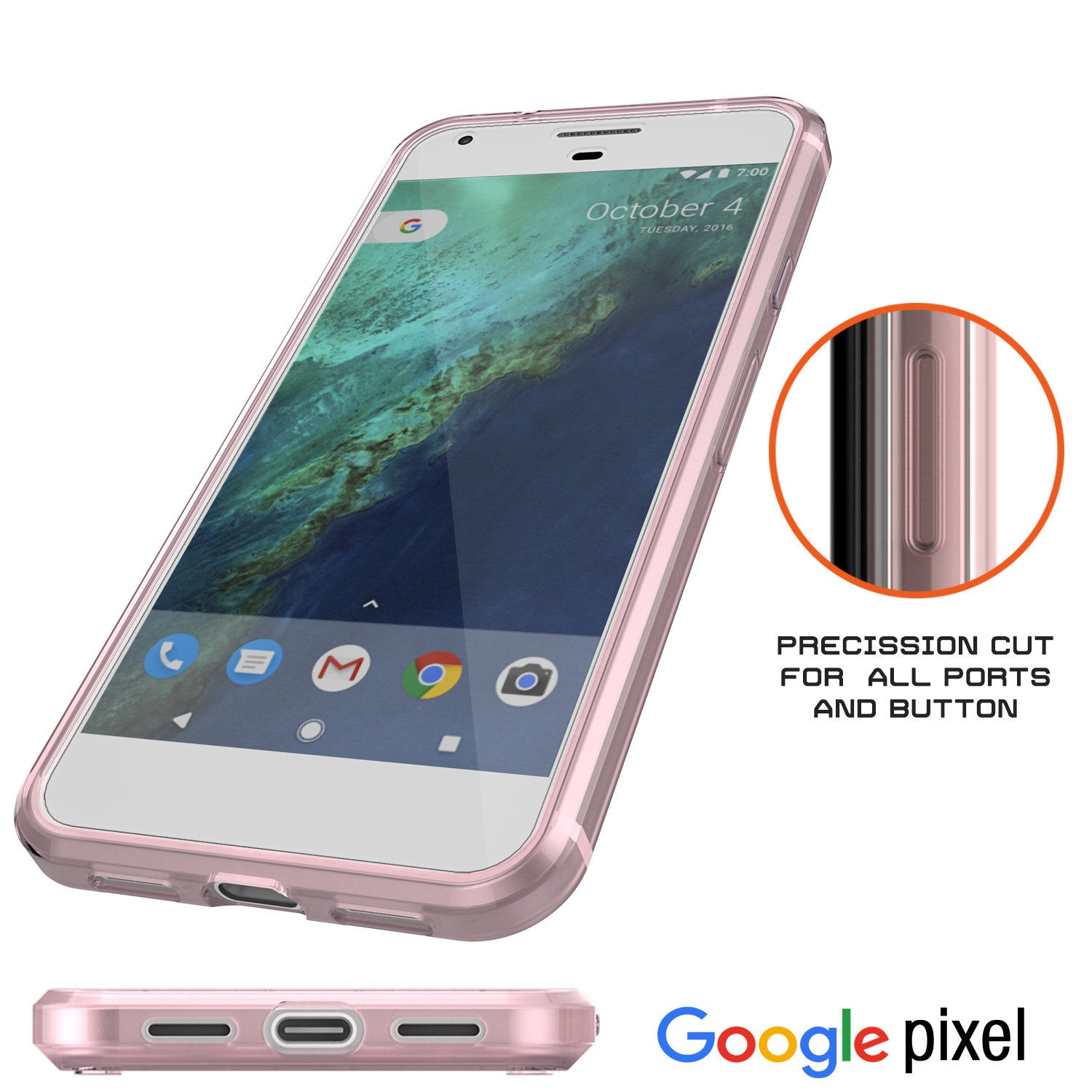 Google Pixel XL Case Punkcase® LUCID 2.0 Crystal Pink Series w/ PUNK SHIELD Glass Screen Protector | Ultra Fit