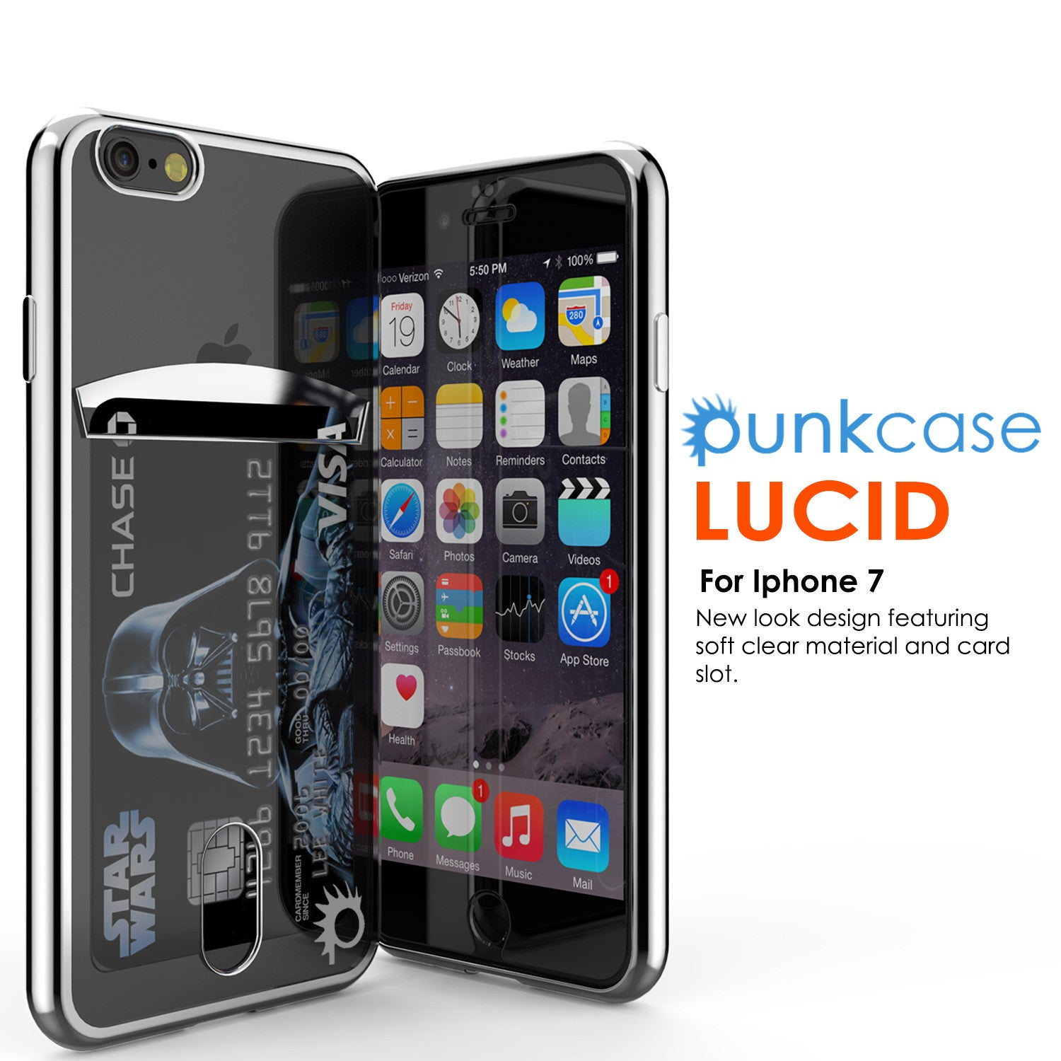iPhone 7 Case, PUNKCASE® LUCID Silver Series | Card Slot | SHIELD Screen Protector | Ultra fit