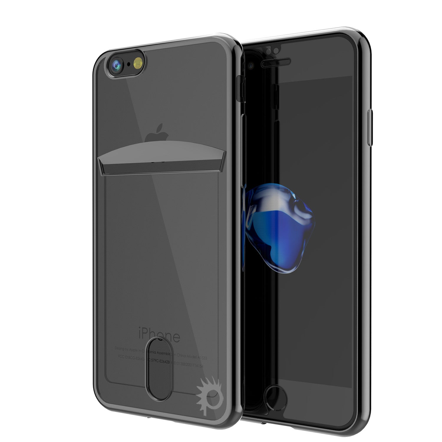iPhone 7 Case, PUNKCASE® LUCID Black Series | Card Slot | SHIELD Screen Protector | Ultra fit