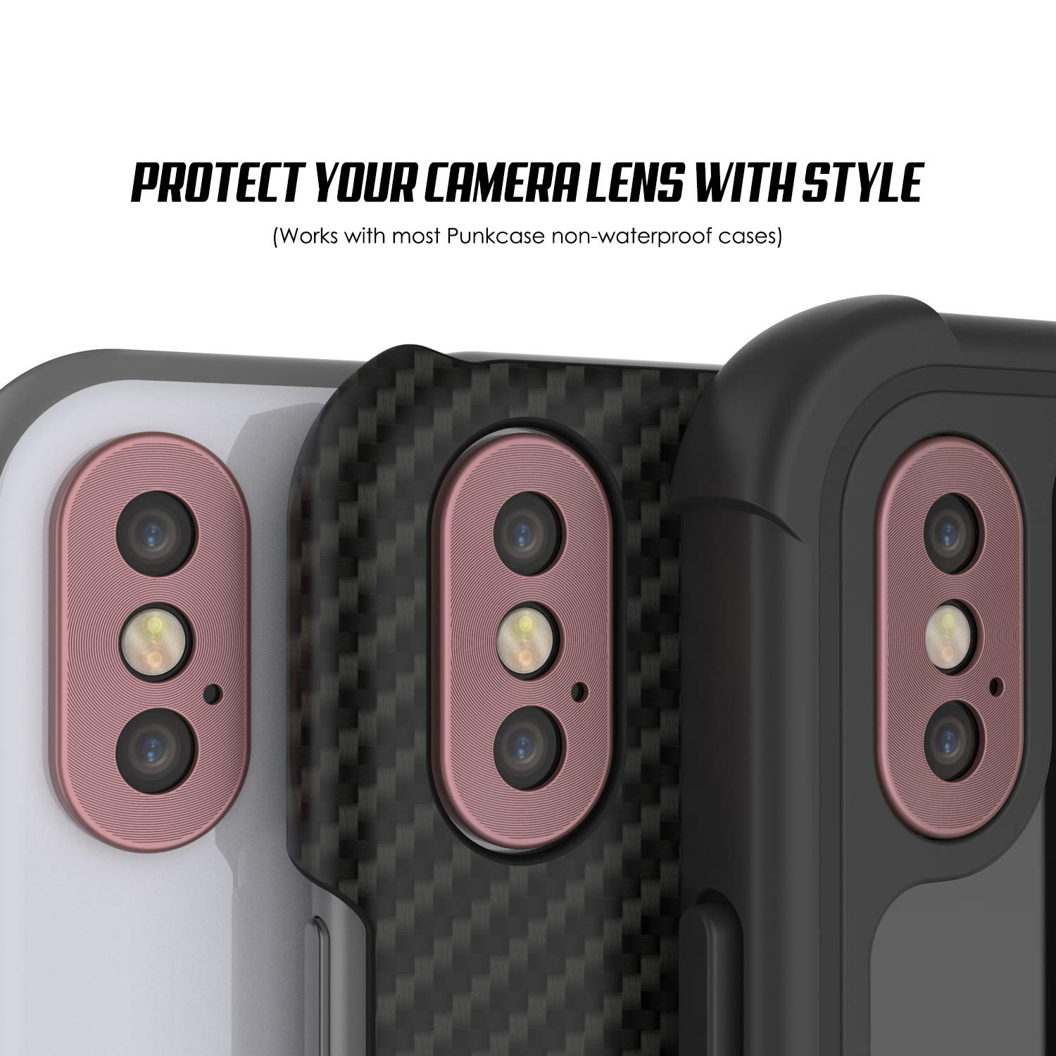 Punkcase iPhone XS Camera Protector Ring [Rose-Gold]